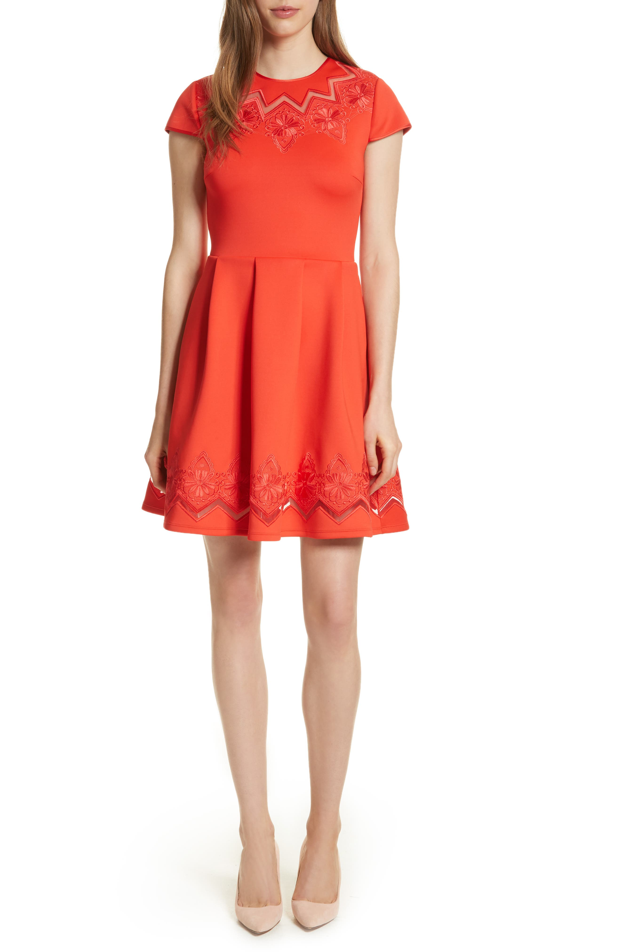 Lace & Mesh Skater Dress,                         Main,                         color, Bright Red