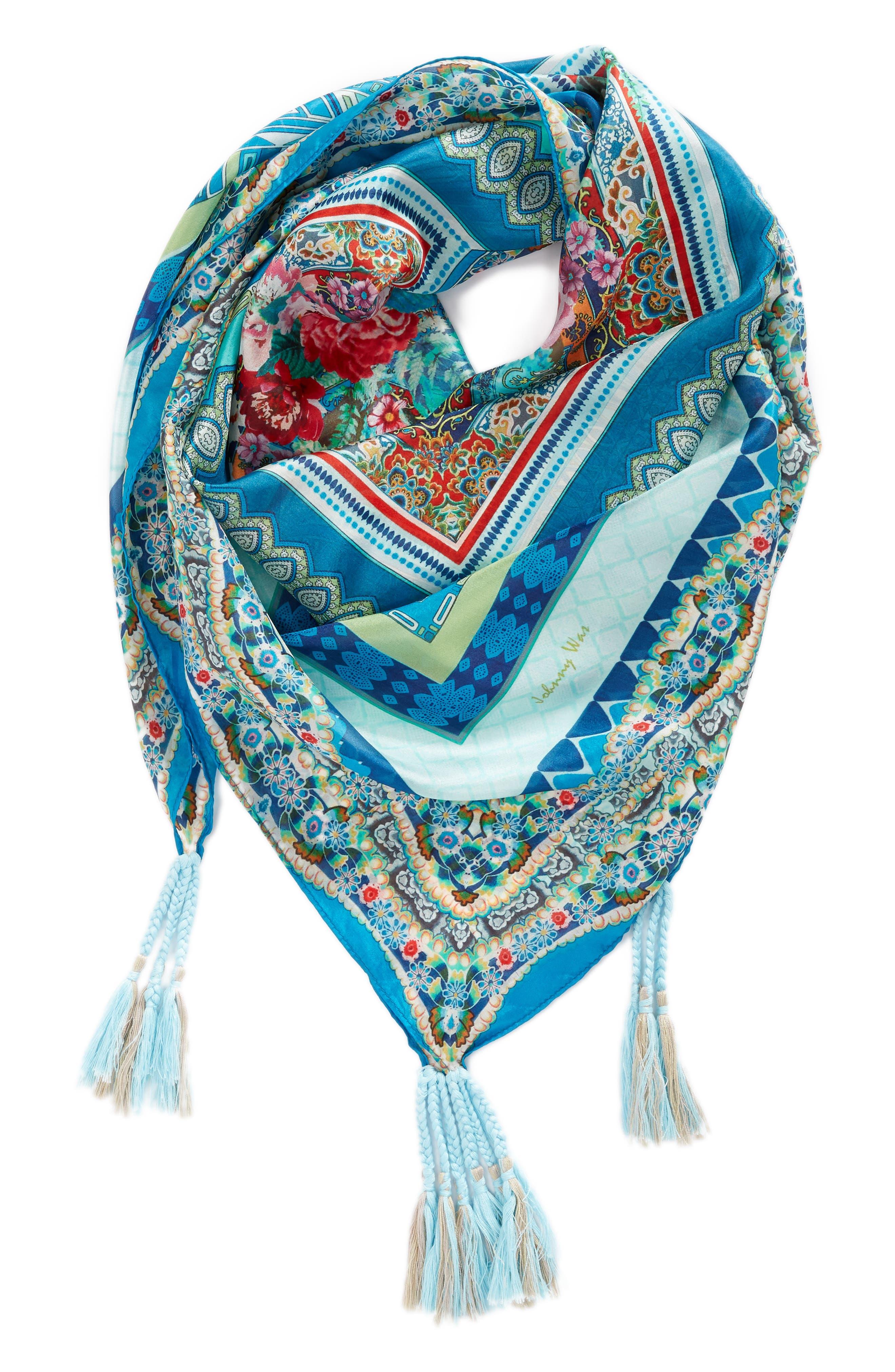 Boutique Tassel Silk Square Scarf,                             Alternate thumbnail 2, color,                             Multi