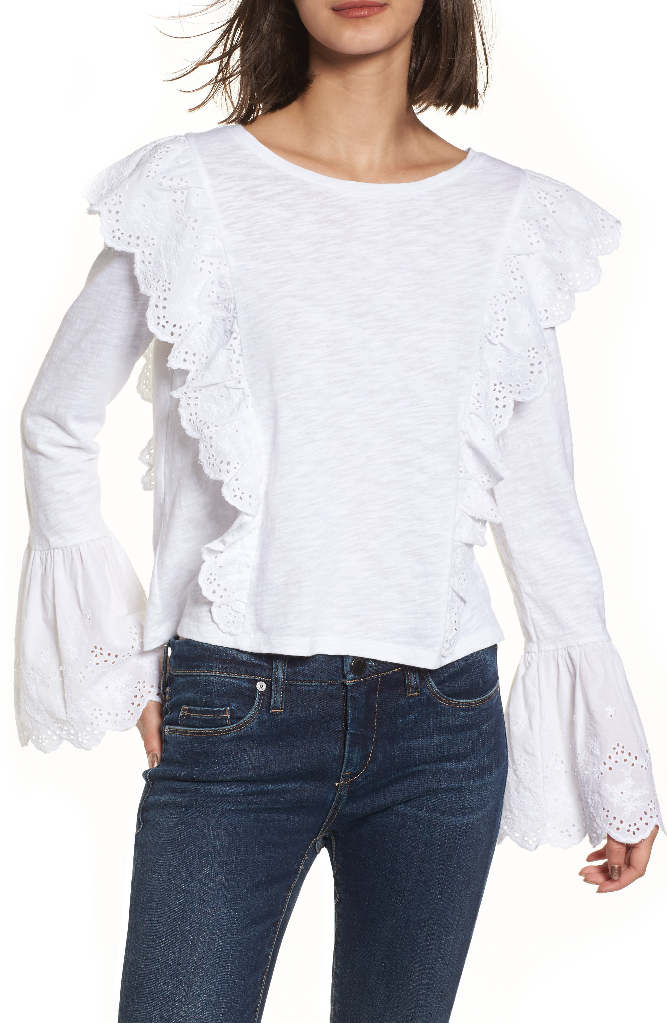 Eyelet Trim Long Sleeve Tee,                         Main,                         color, White