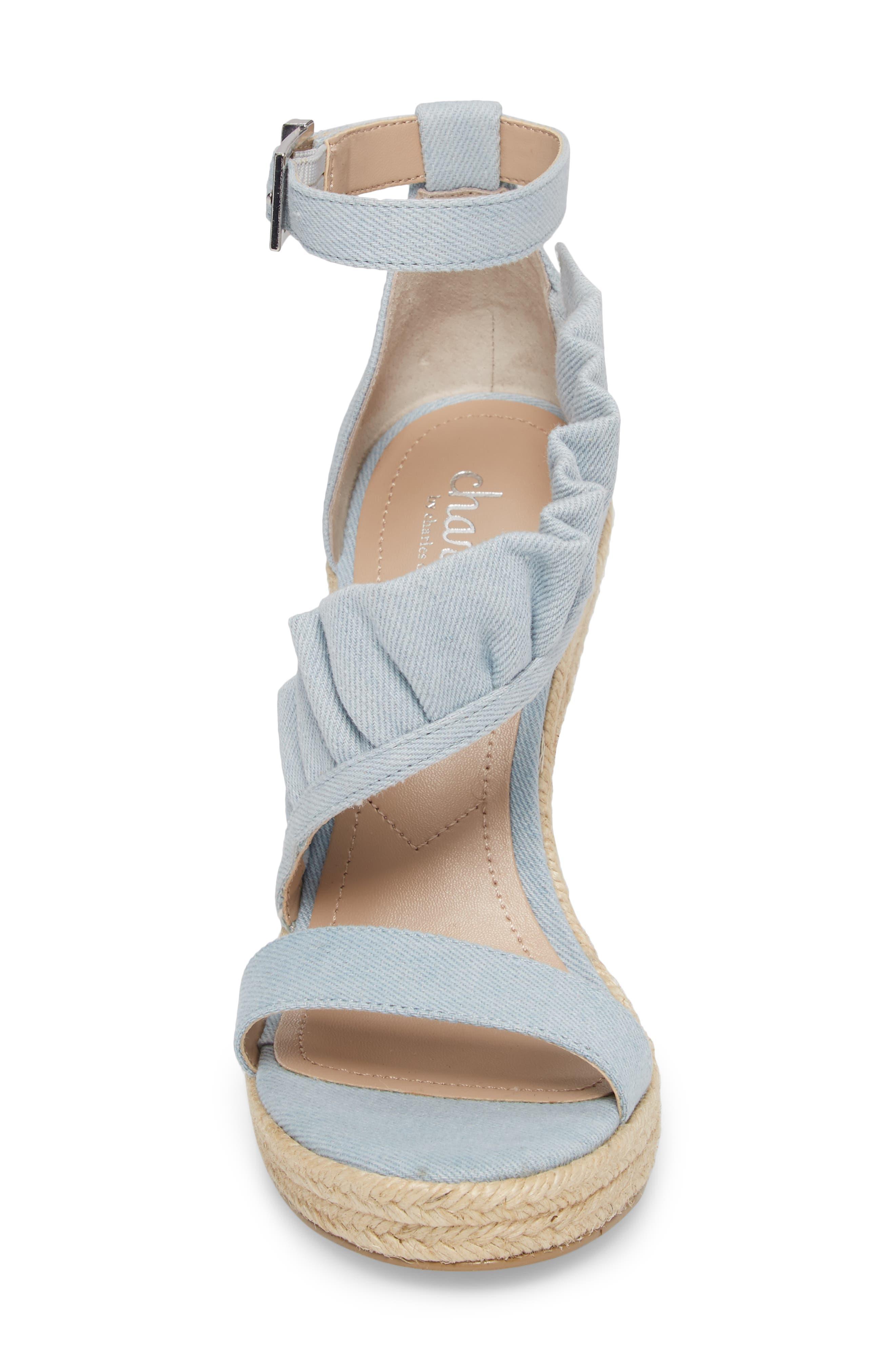 Brooke Espadrille Wedge Sandal,                             Alternate thumbnail 4, color,                             Light Blue Denim