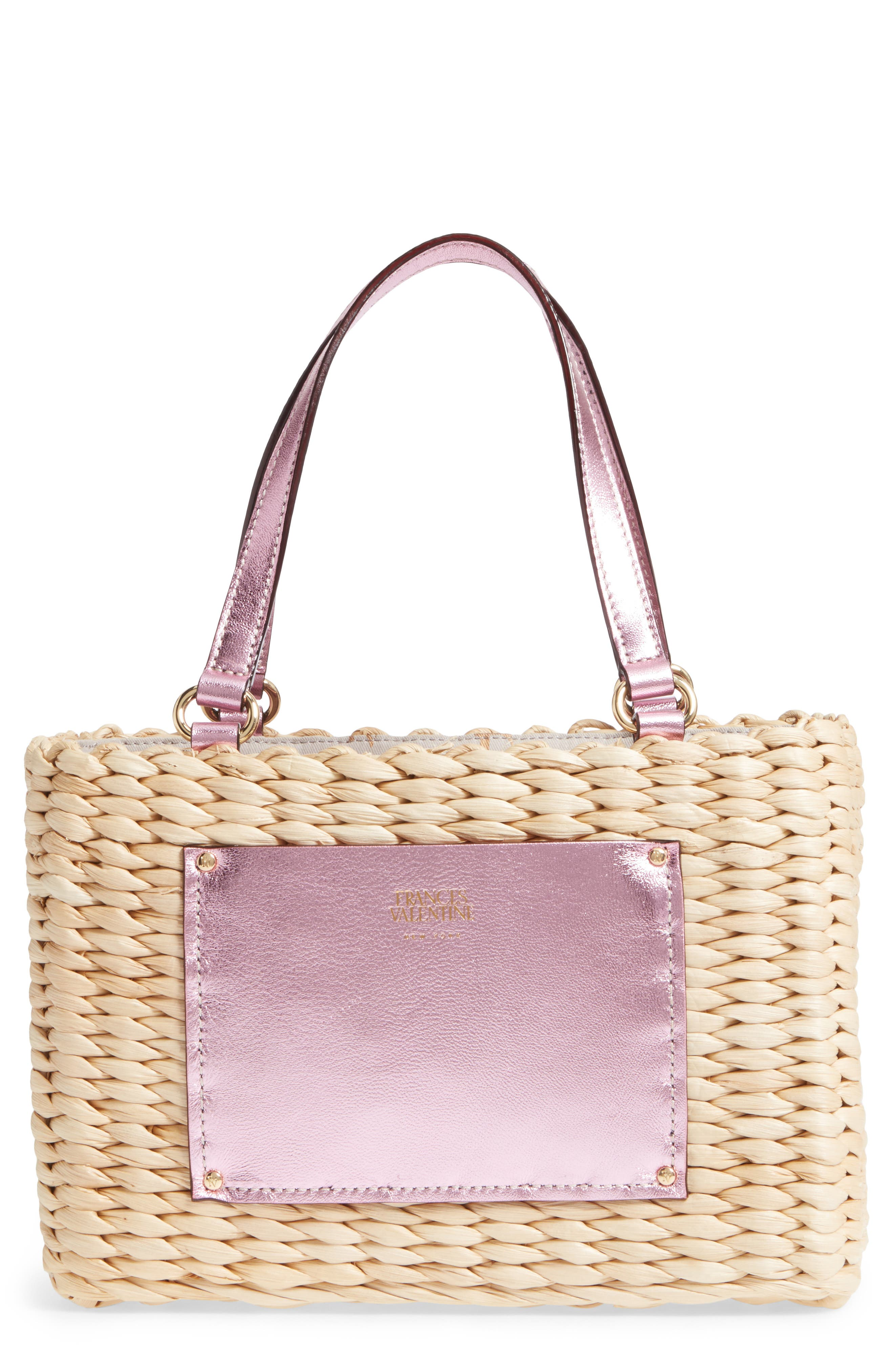 Alternate Image 1 Selected - Frances Valentine Small Woven Straw Tote