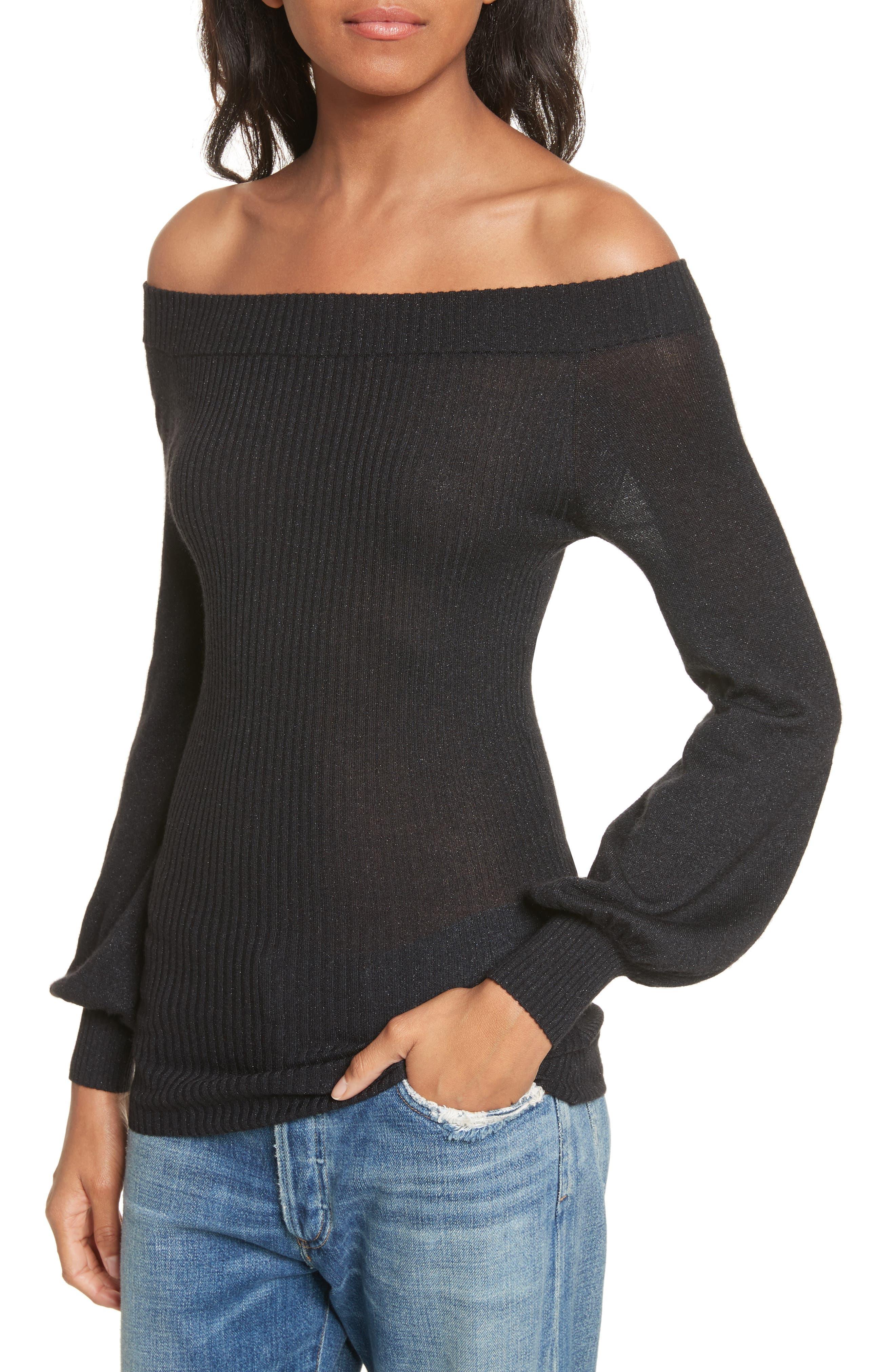 Alternate Image 3  - autumn cashmere Metallic Cashmere & Silk Blend Off the Shoulder Top