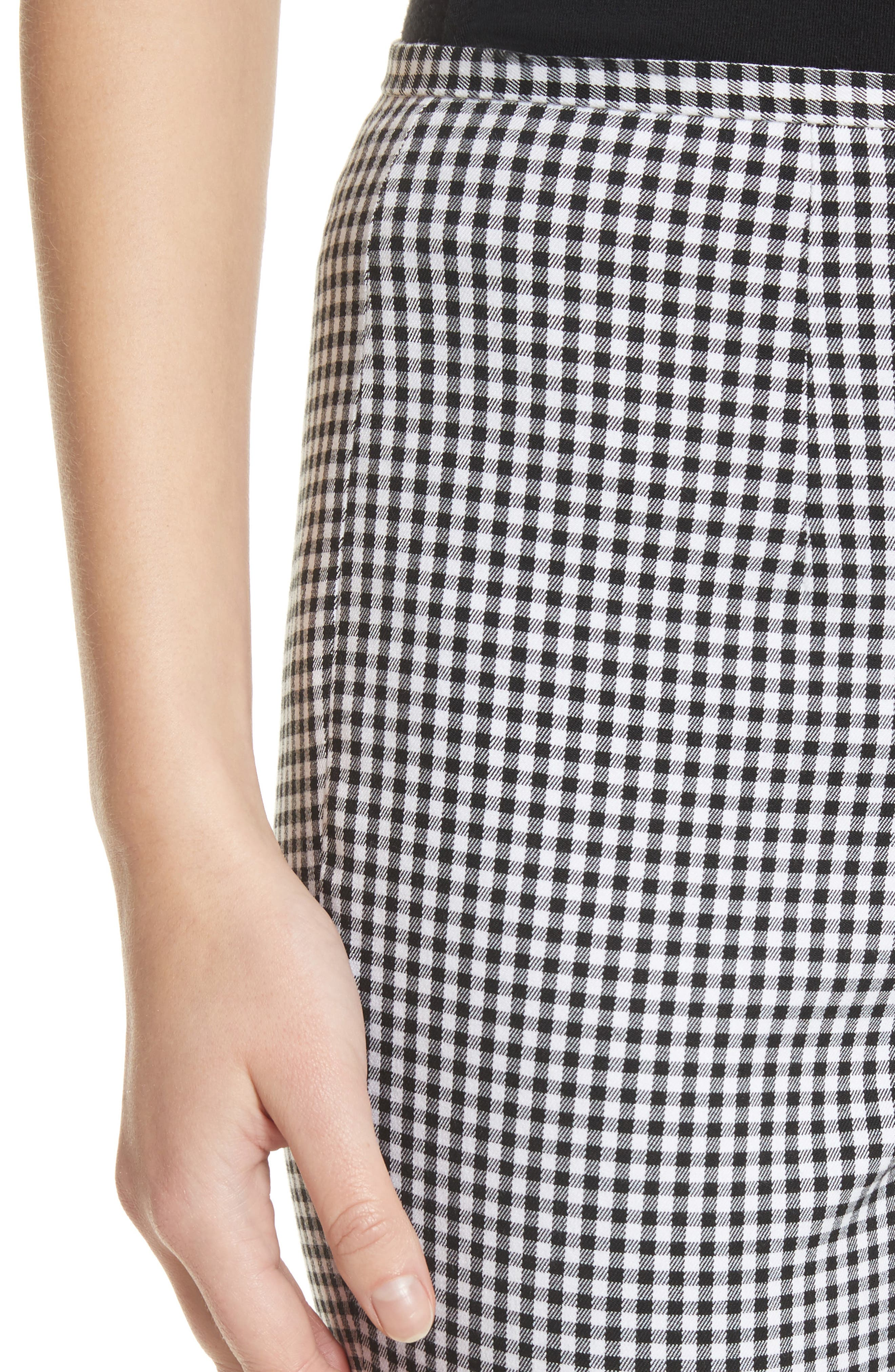 Gingham Stretch Cotton Pants,                             Alternate thumbnail 5, color,                             Black / White