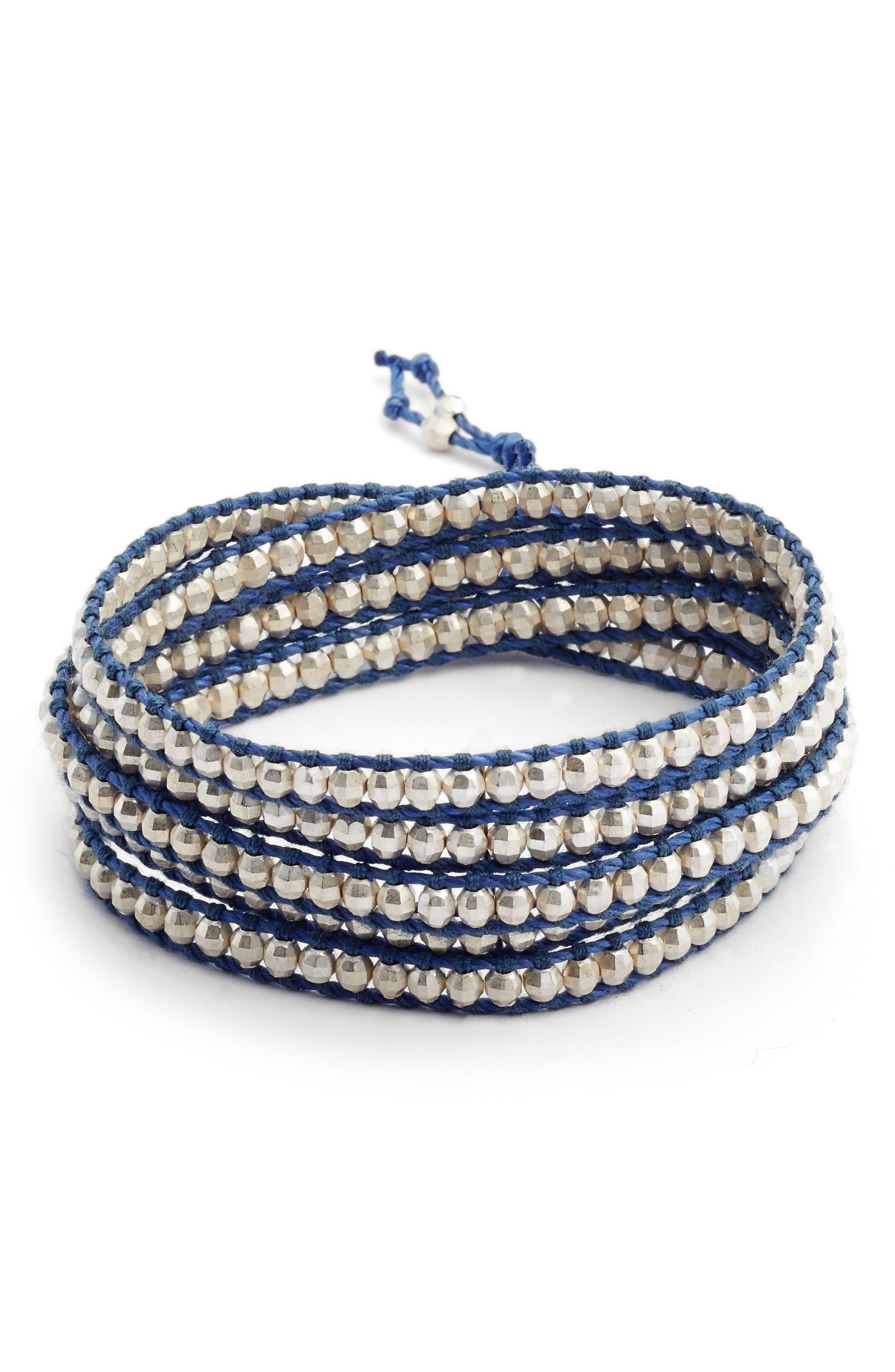 Beaded Multistrand Bracelet,                         Main,                         color, Silver/ Periwinkle