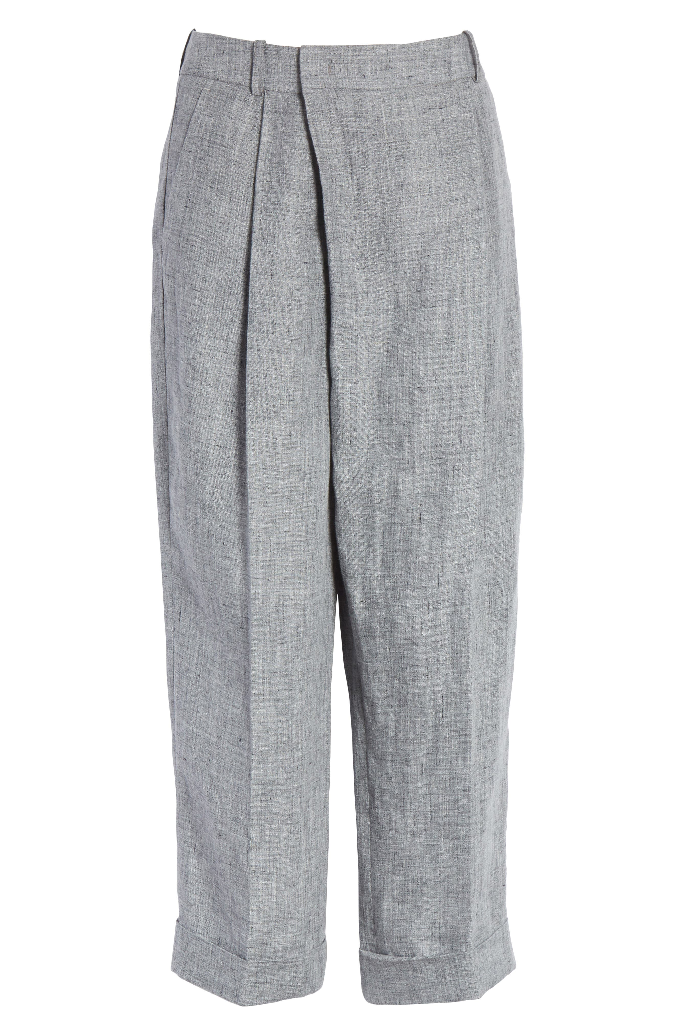 Cross Front Linen Crop Trousers,                             Alternate thumbnail 7, color,                             Banker Melange