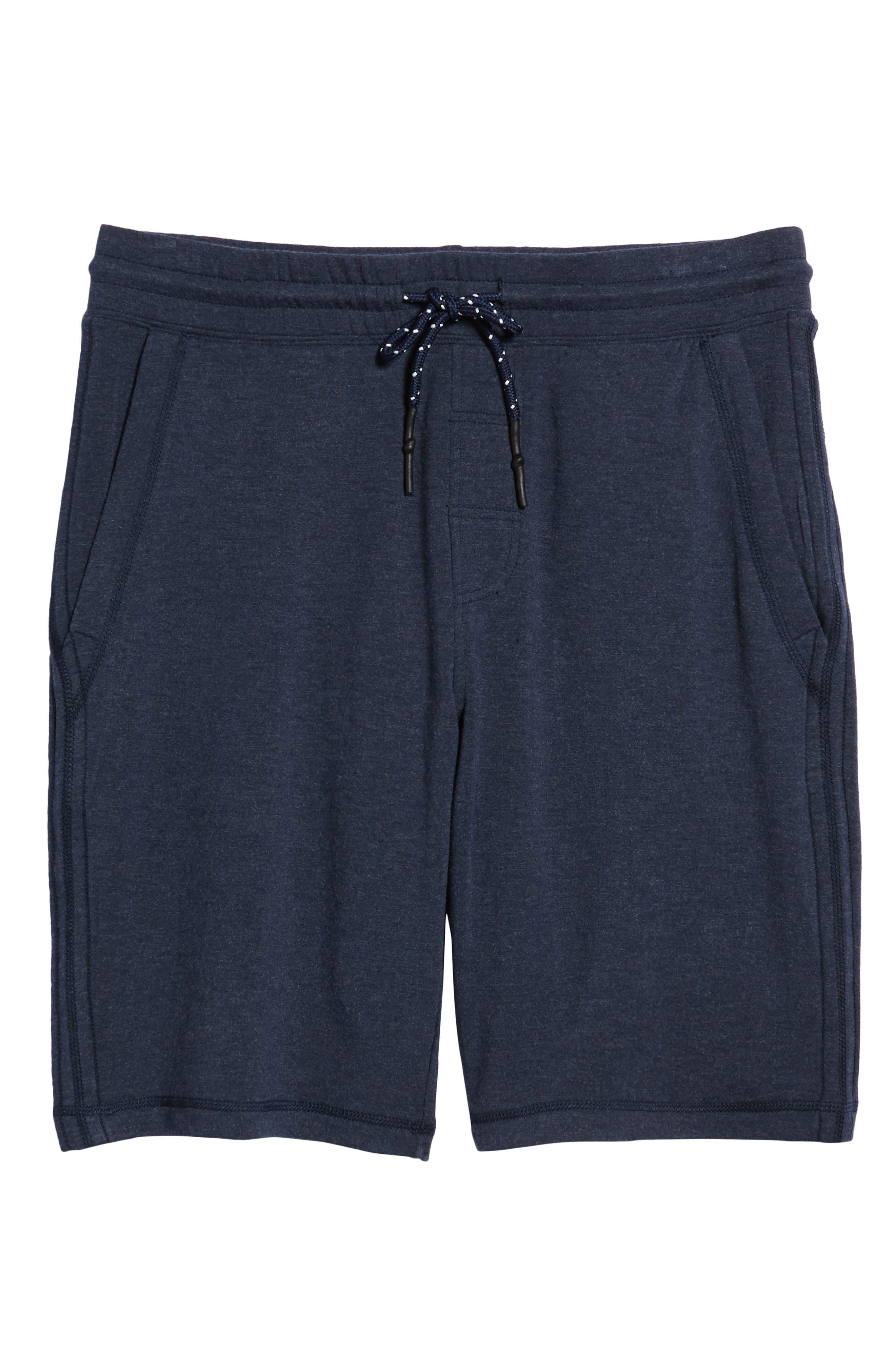 Brushback Fleece Shorts,                             Alternate thumbnail 6, color,                             Navy Heather