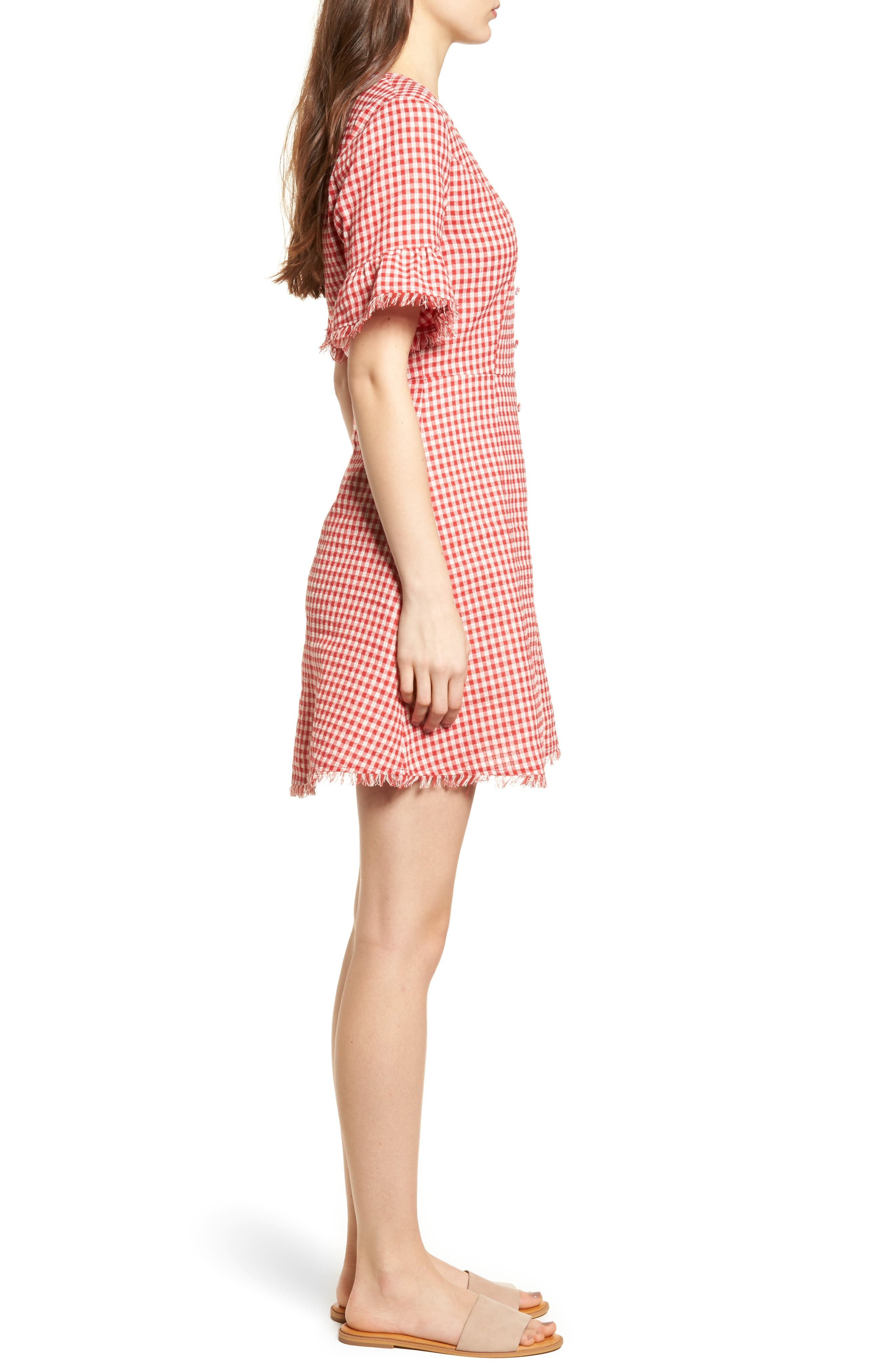 Gingham Ruffle Sleeve Dress,                             Alternate thumbnail 4, color,                             Red Gingham