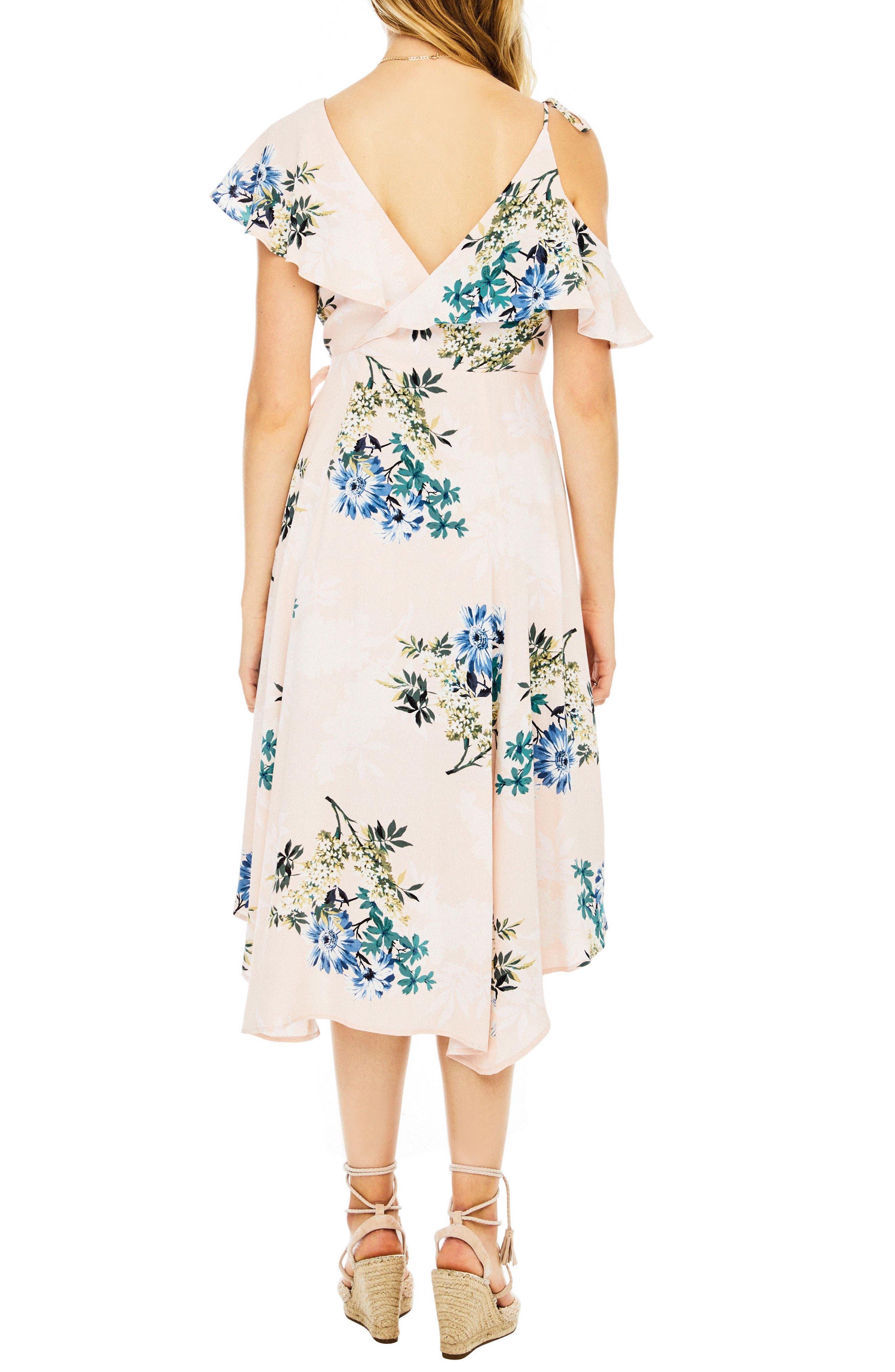 Yessenia Wrap Dress,                             Alternate thumbnail 2, color,                             Blush Multi Floral