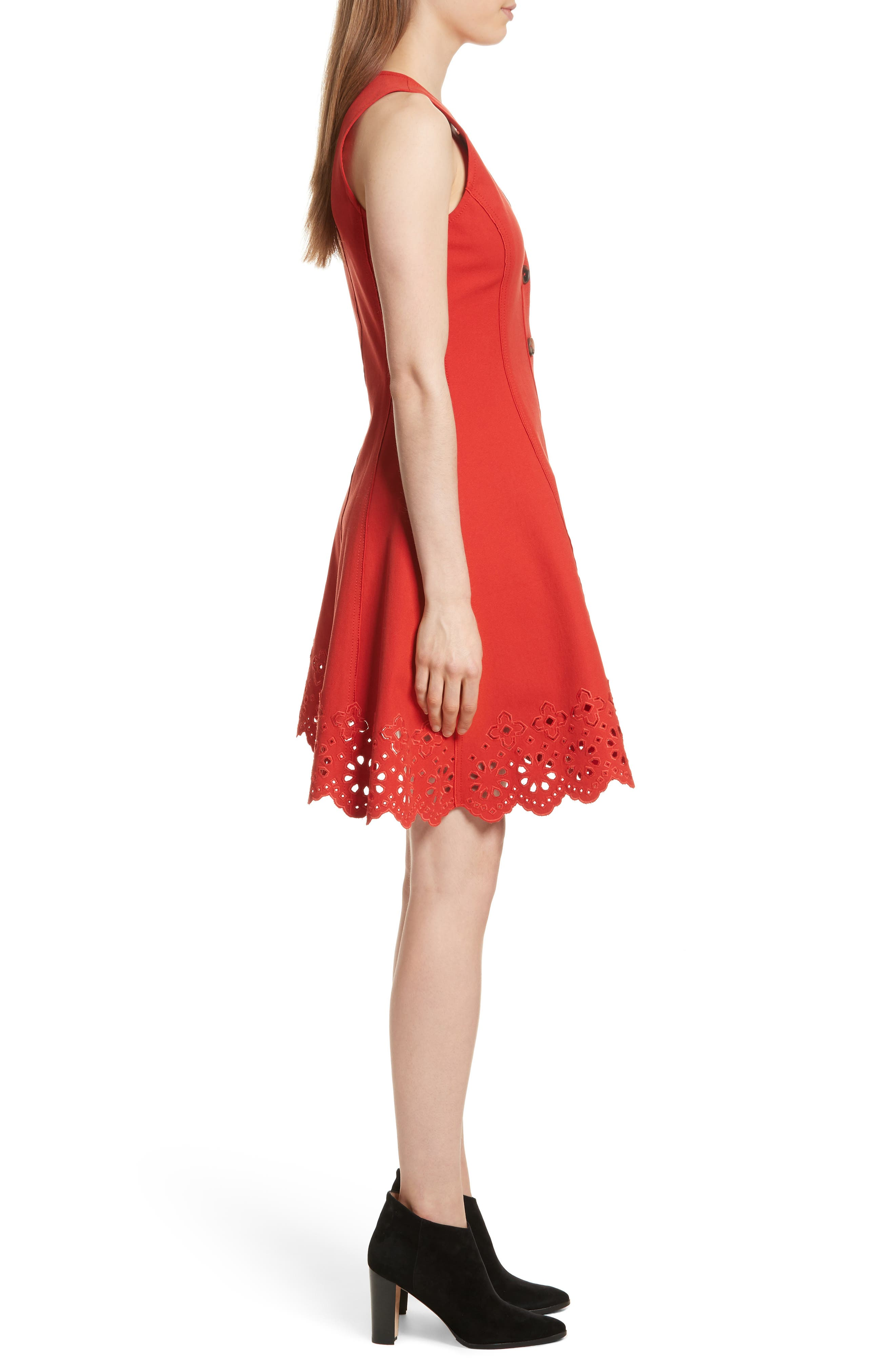 Scallop Hem Dress,                             Alternate thumbnail 3, color,                             Red Clay