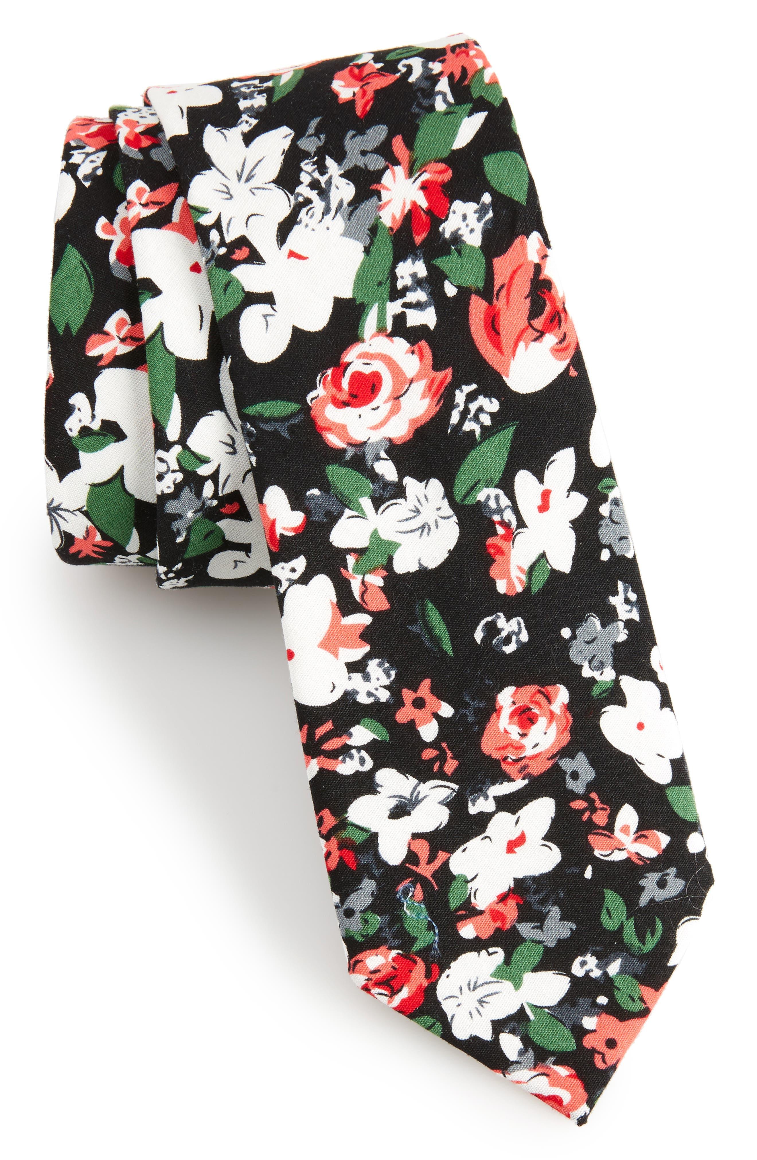 Oceana Floral Cotton Tie,                             Main thumbnail 1, color,                             Black