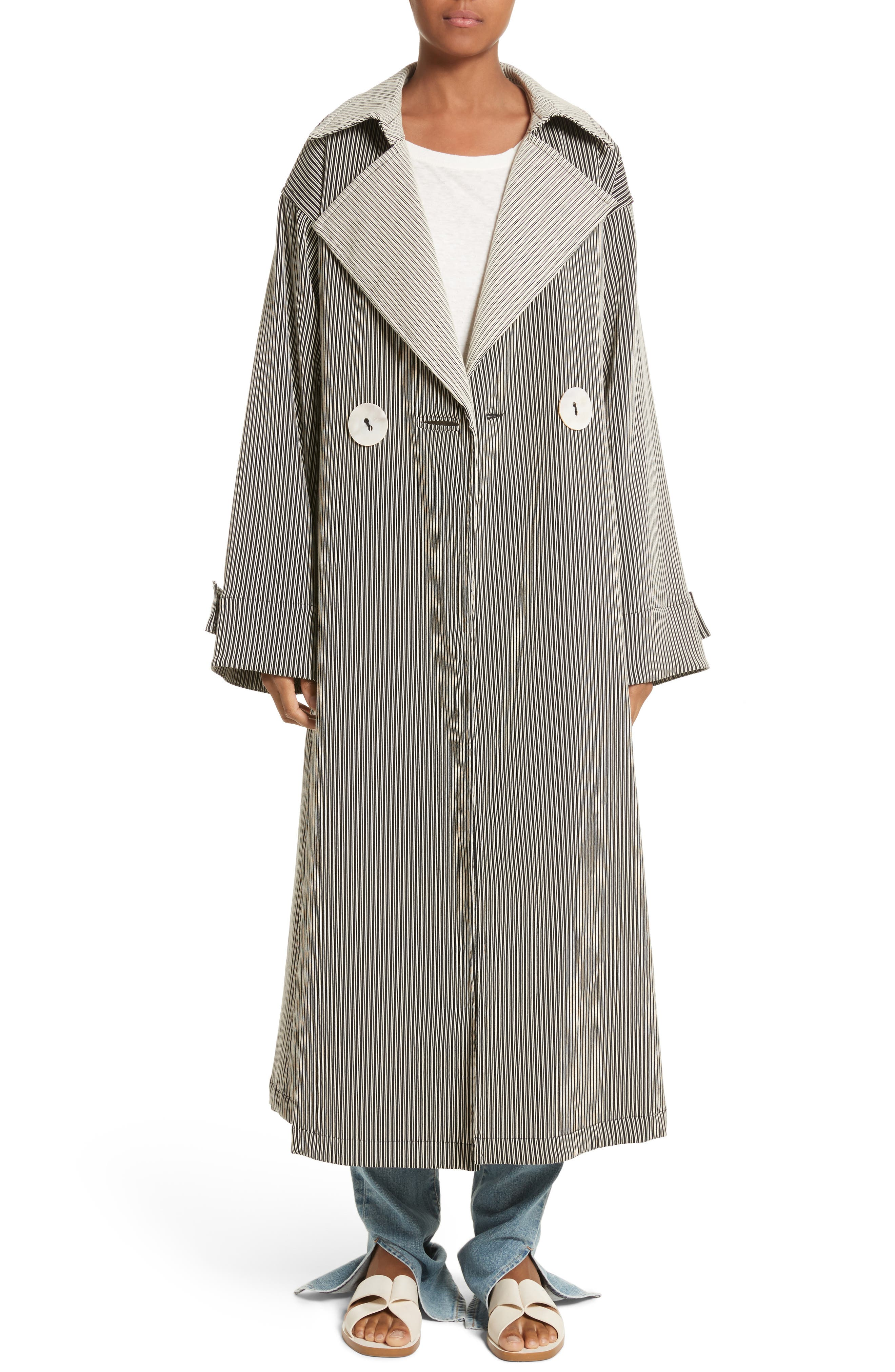 Casco Stretch Pinstripe Trench Coat,                         Main,                         color, Pinstripe