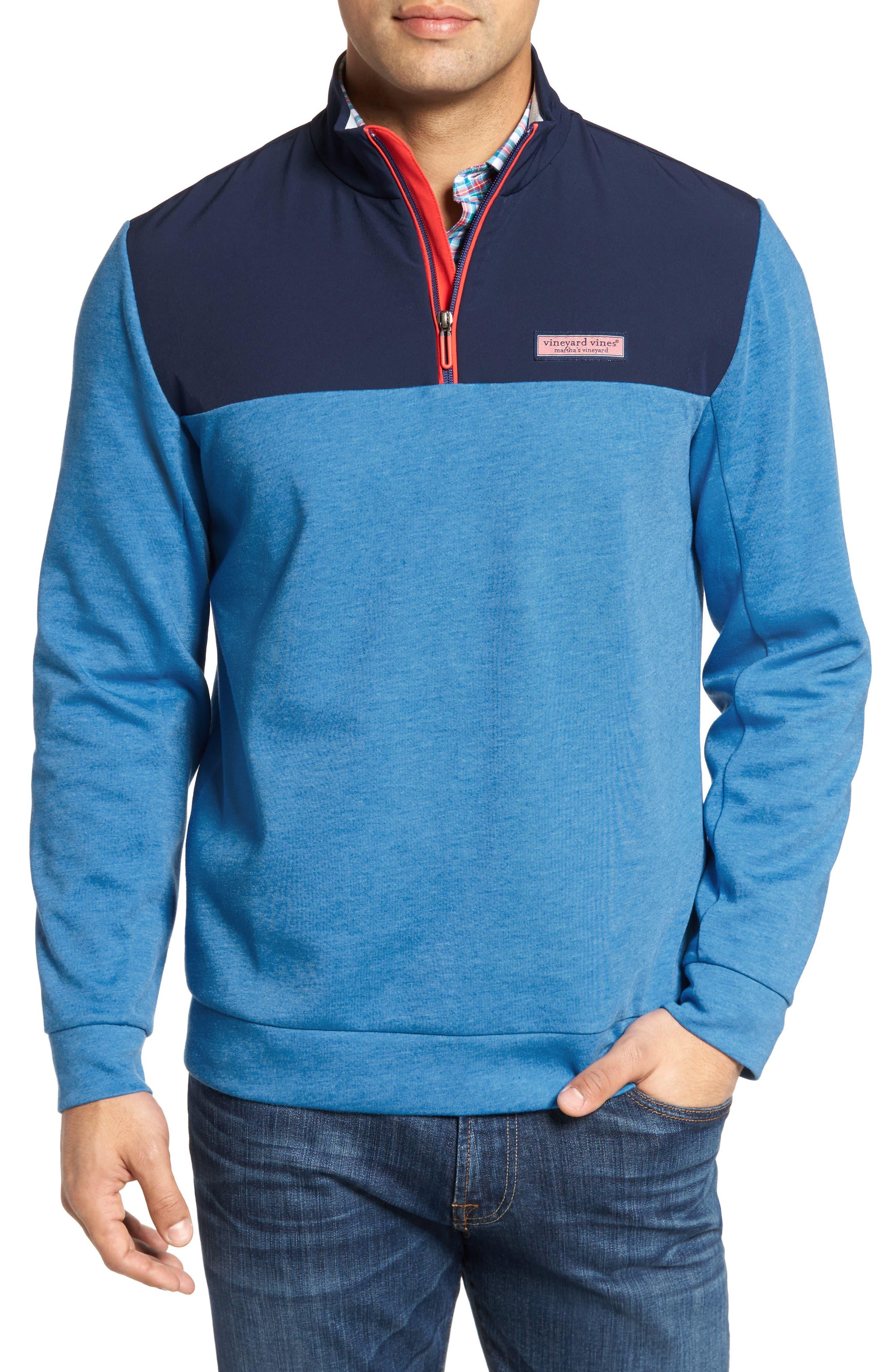 Shep Mesh Performance Yoke Quarter Zip Pullover,                         Main,                         color, Hull Blue