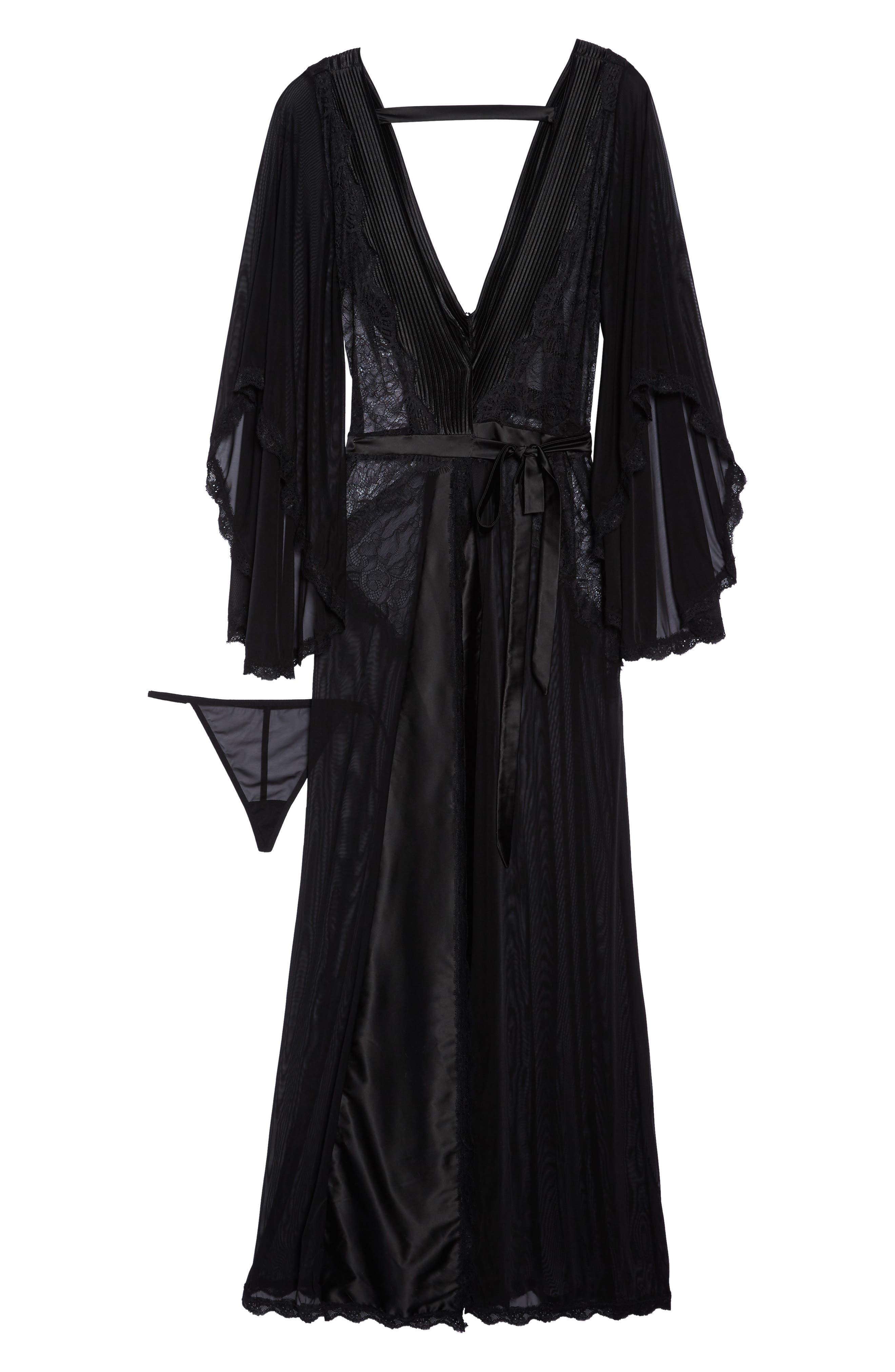 Alternate Image 4  - Oh La La Cheri Nicolette Sheer Robe & G-String (Plus Size)