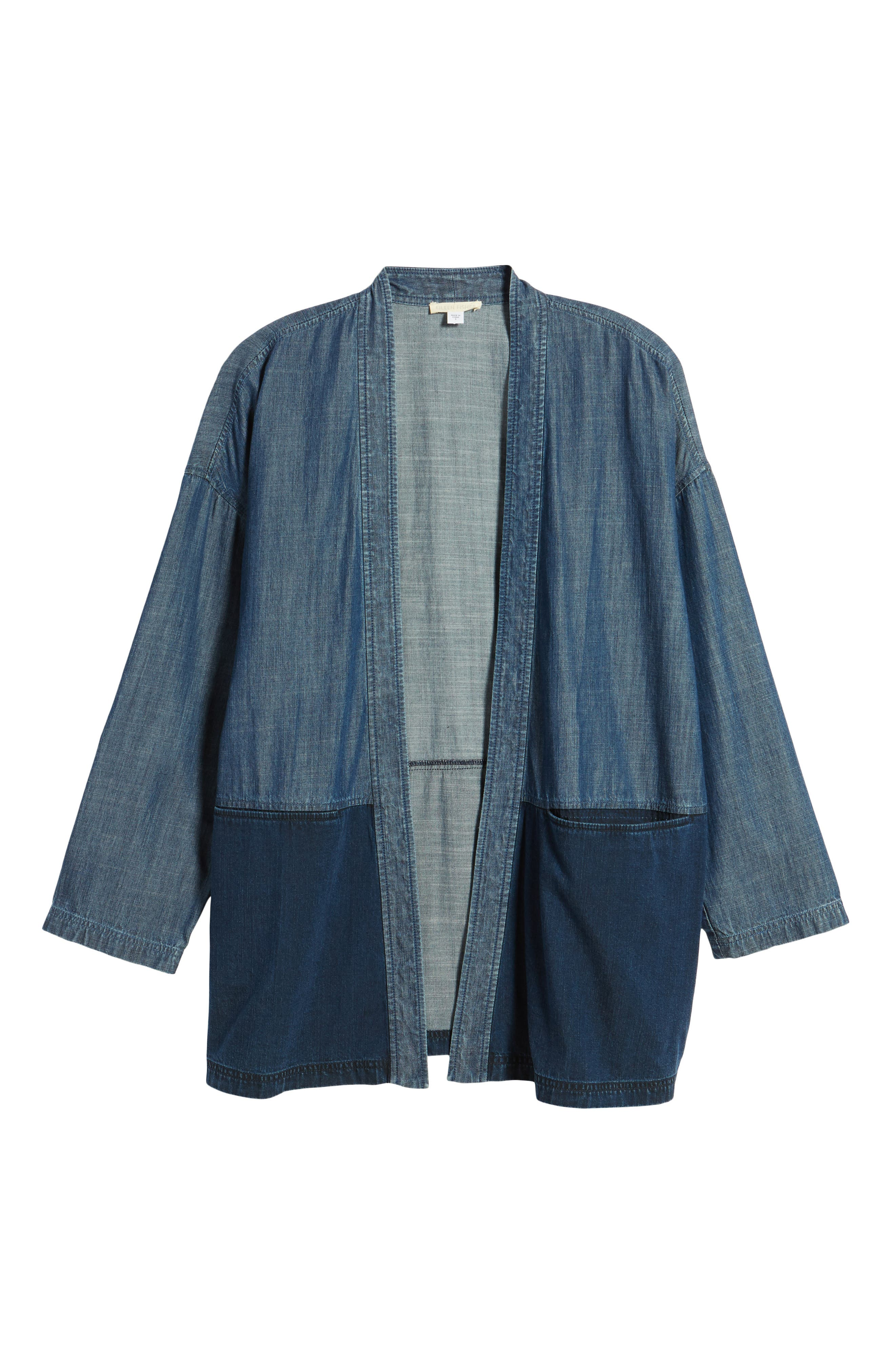 Denim Kimono Jacket,                             Alternate thumbnail 6, color,                             Midnight