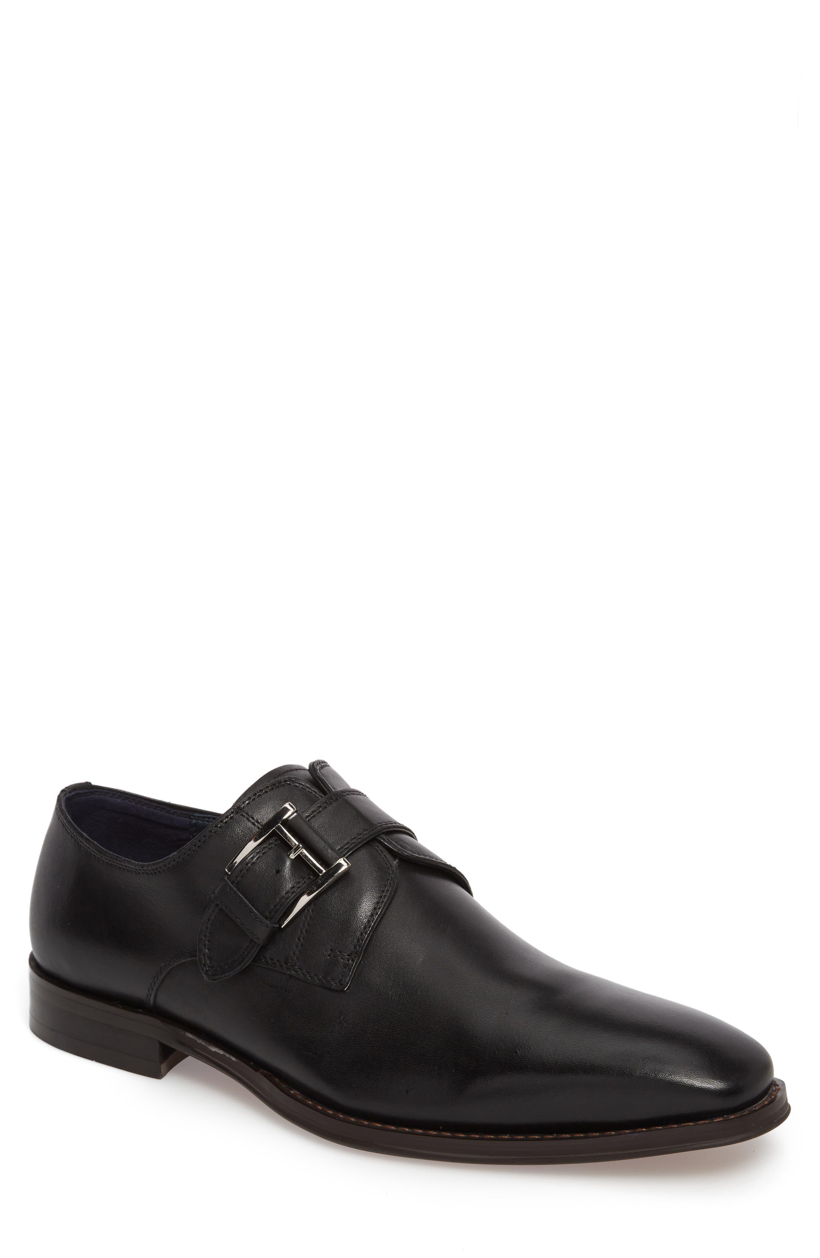 Miguel Monk Strap Shoe,                         Main,                         color, Black Leather