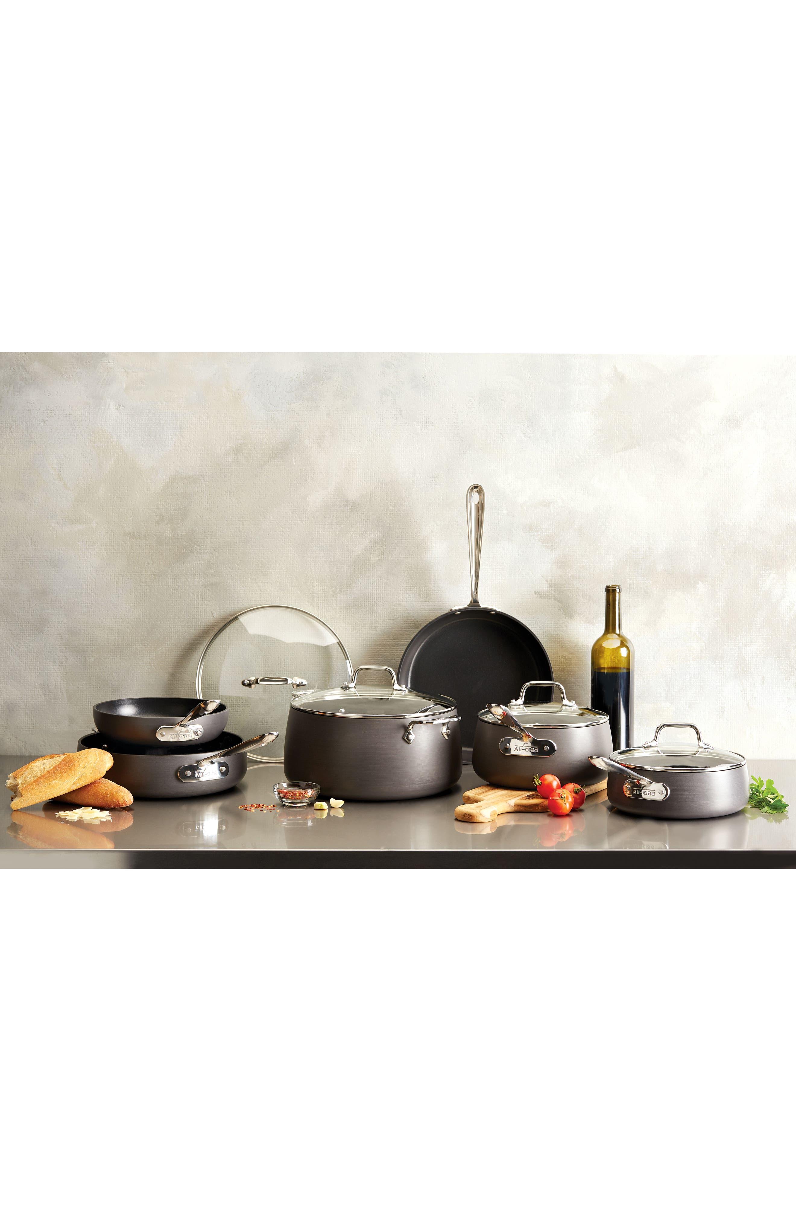 Hard Anodized 10-Piece Nonstick Cookware Set,                             Alternate thumbnail 2, color,                             Grey