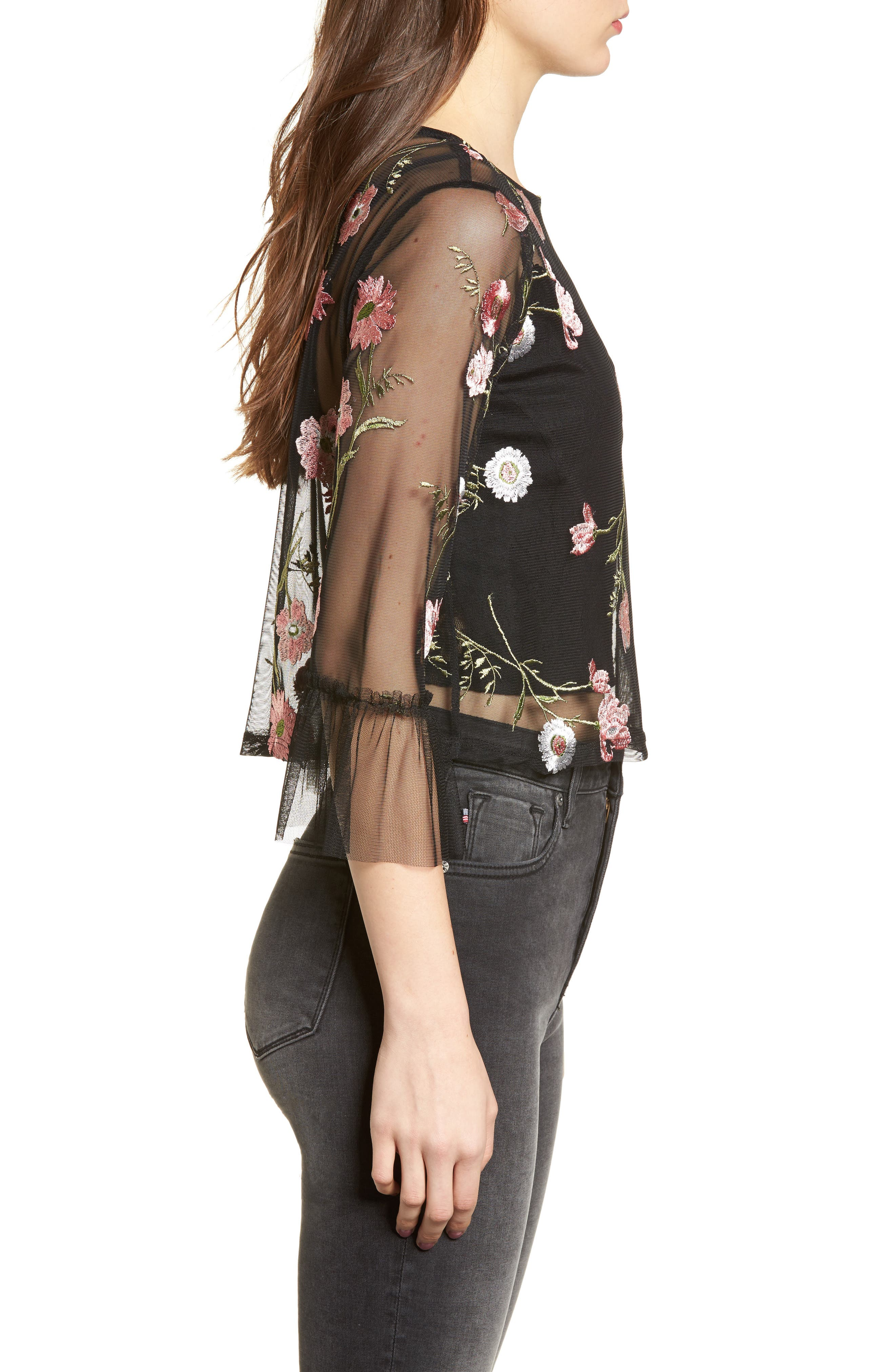 Embroidered Mesh Top,                             Alternate thumbnail 3, color,                             Black