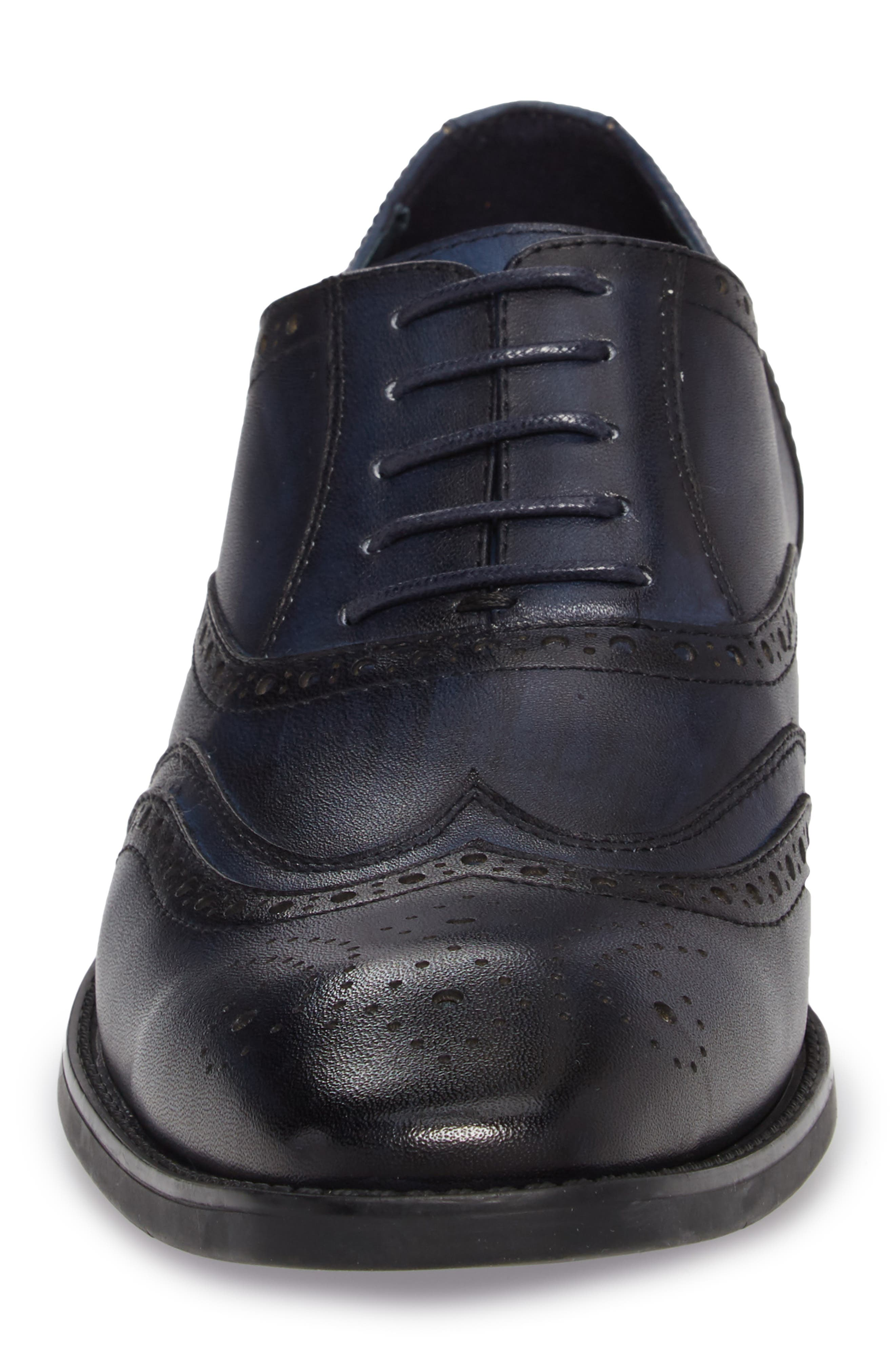 Lindsey Wingtip,                             Alternate thumbnail 4, color,                             Navy Leather