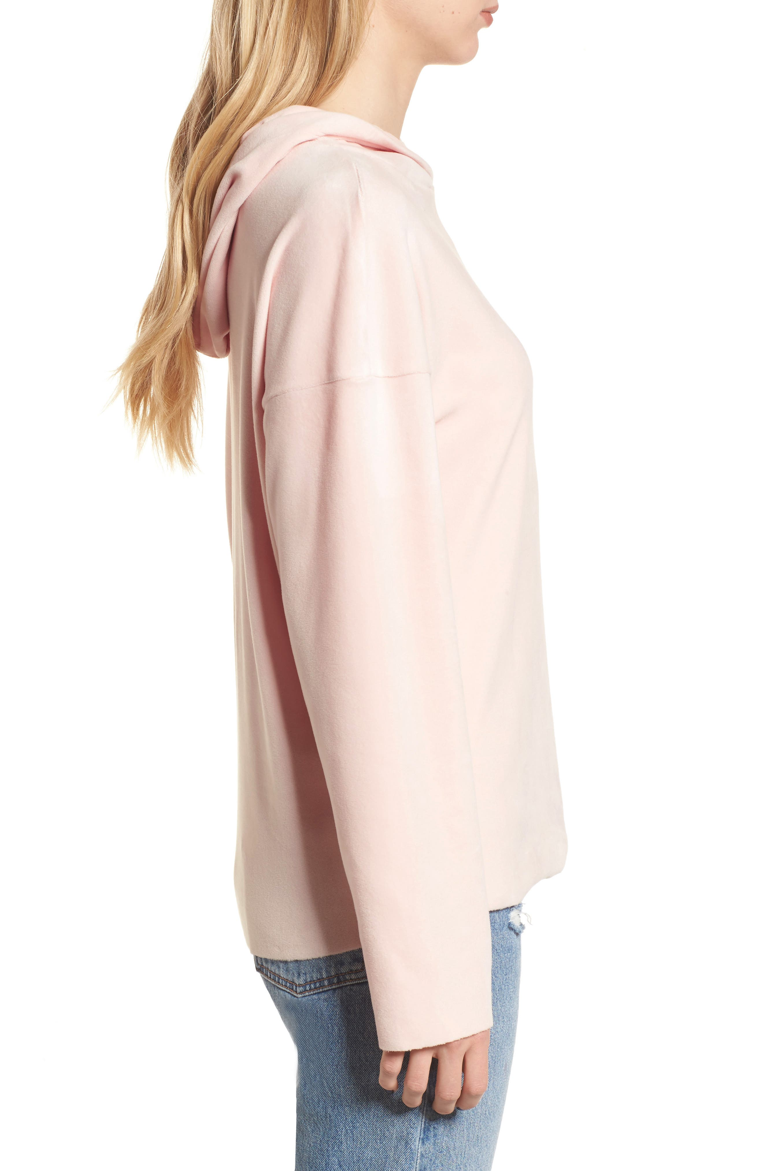 Velour Hoodie,                             Alternate thumbnail 3, color,                             Blush