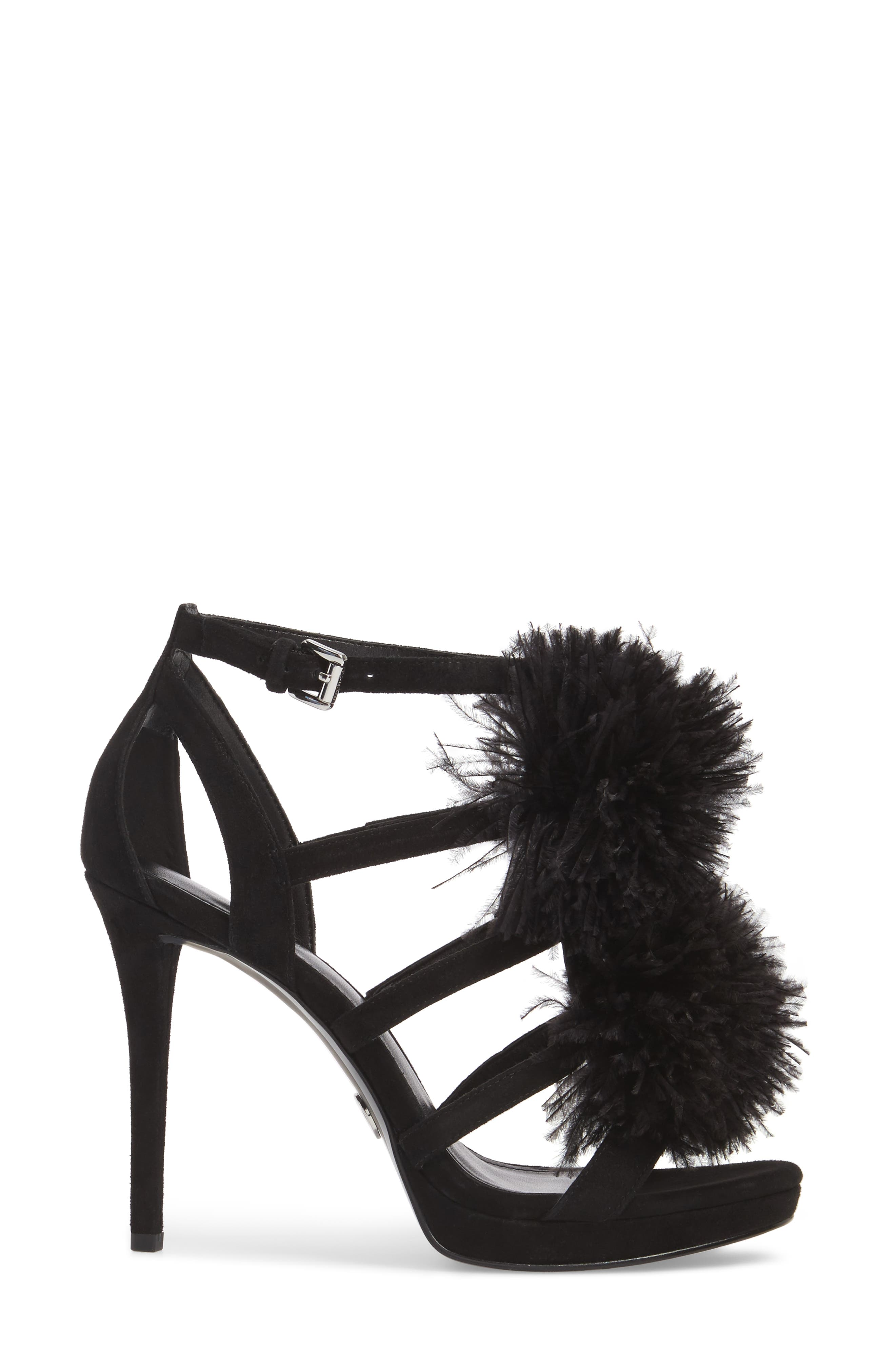 Fara Feather Pom Sandal,                             Alternate thumbnail 3, color,                             Black Suede