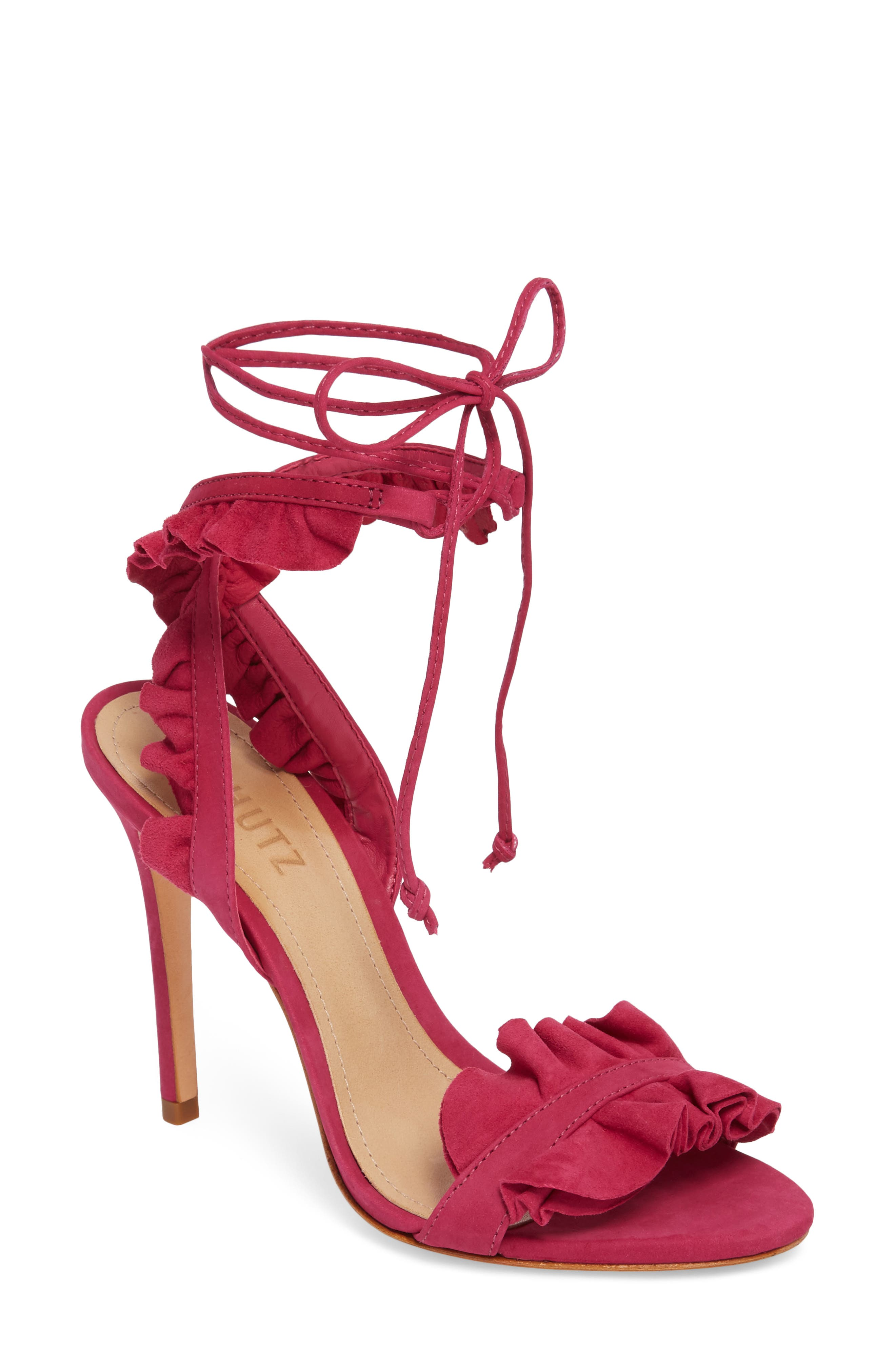 Irem Lace-UP Sandal,                             Main thumbnail 1, color,                             Bright Rose Nubuck Leather