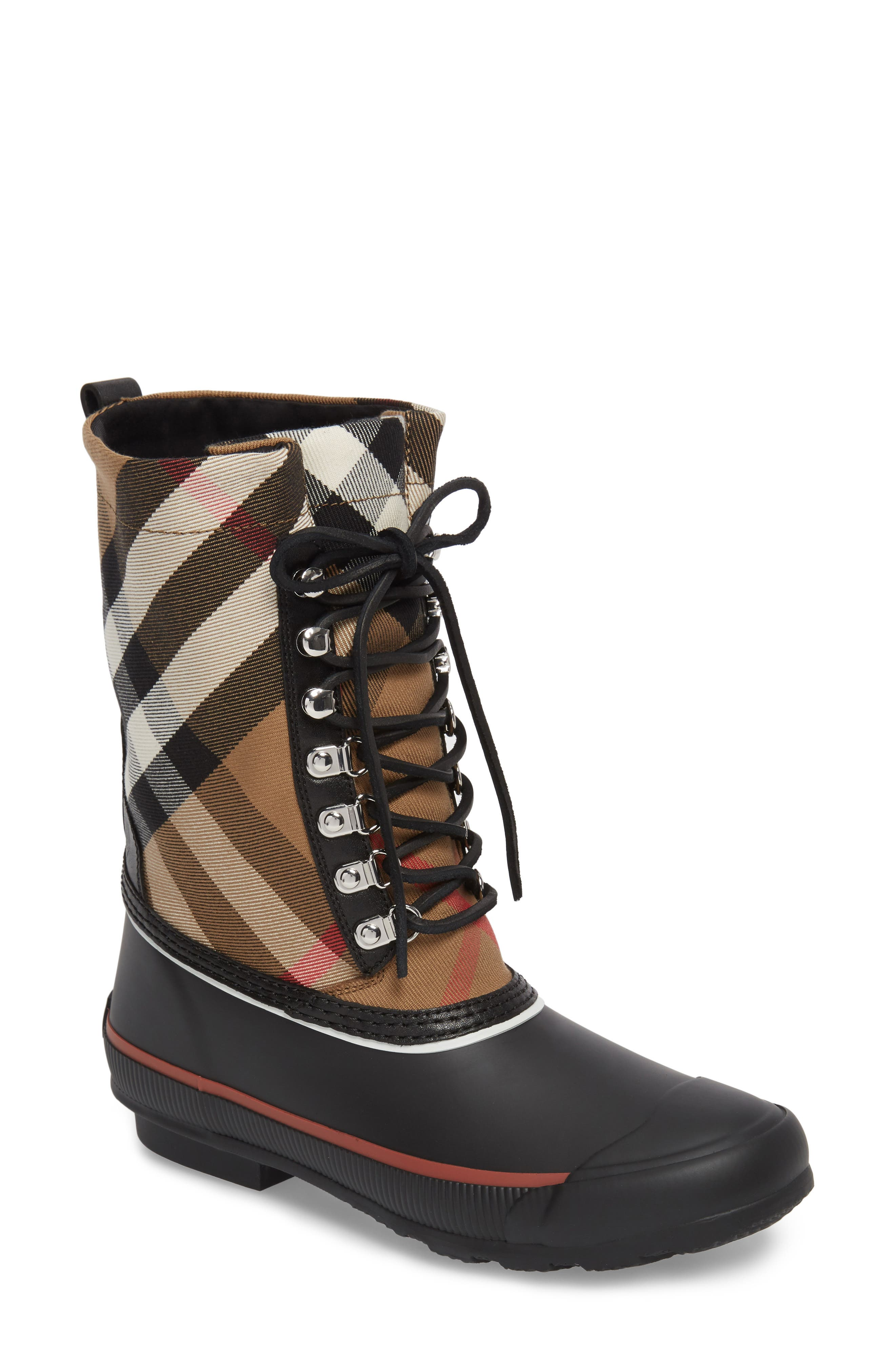 Burberry Rowlette House Check Rain Boot (Women)