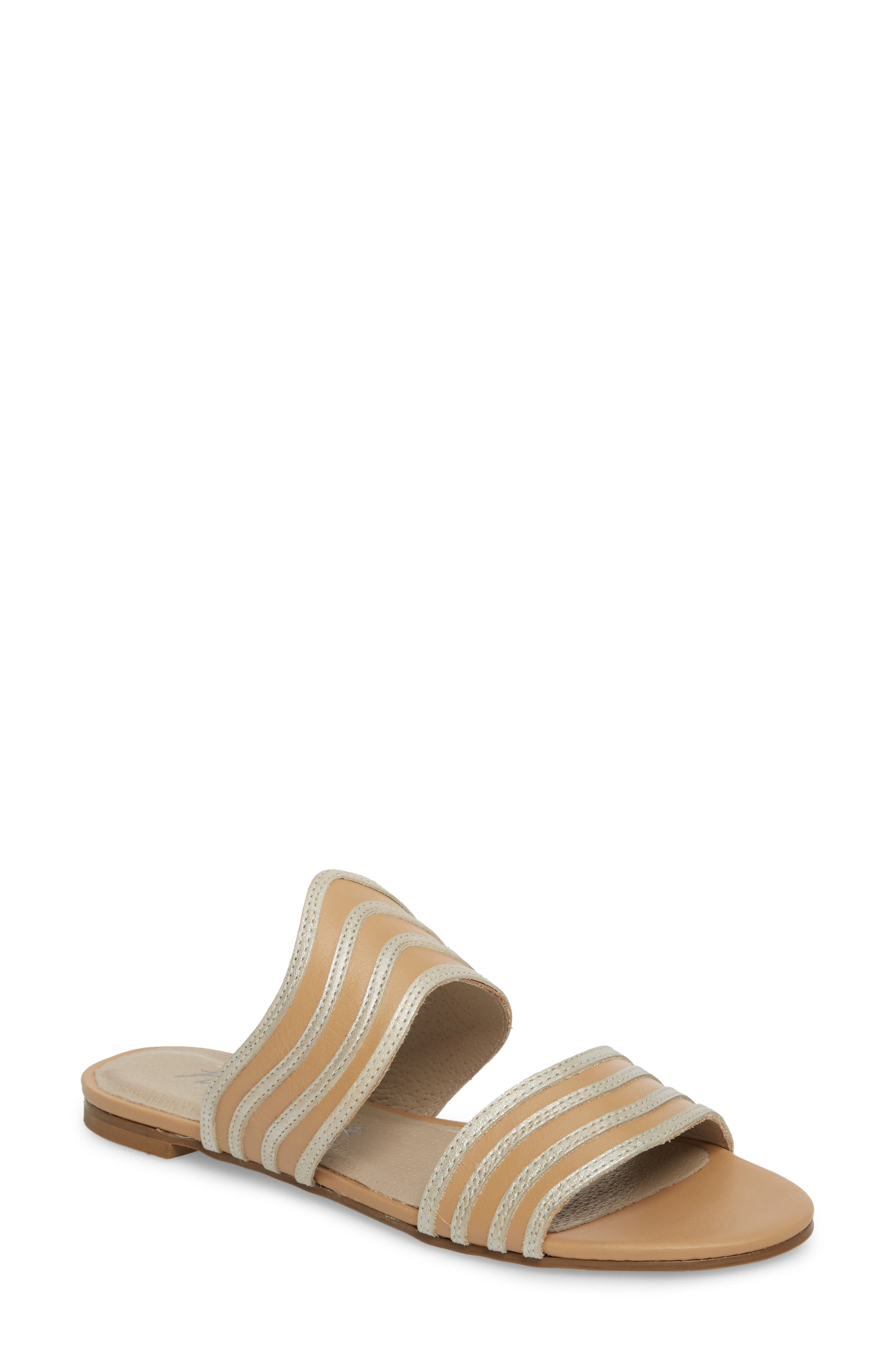 Russo Slide Sandal,                             Main thumbnail 1, color,                             Natural/ Silver Leather