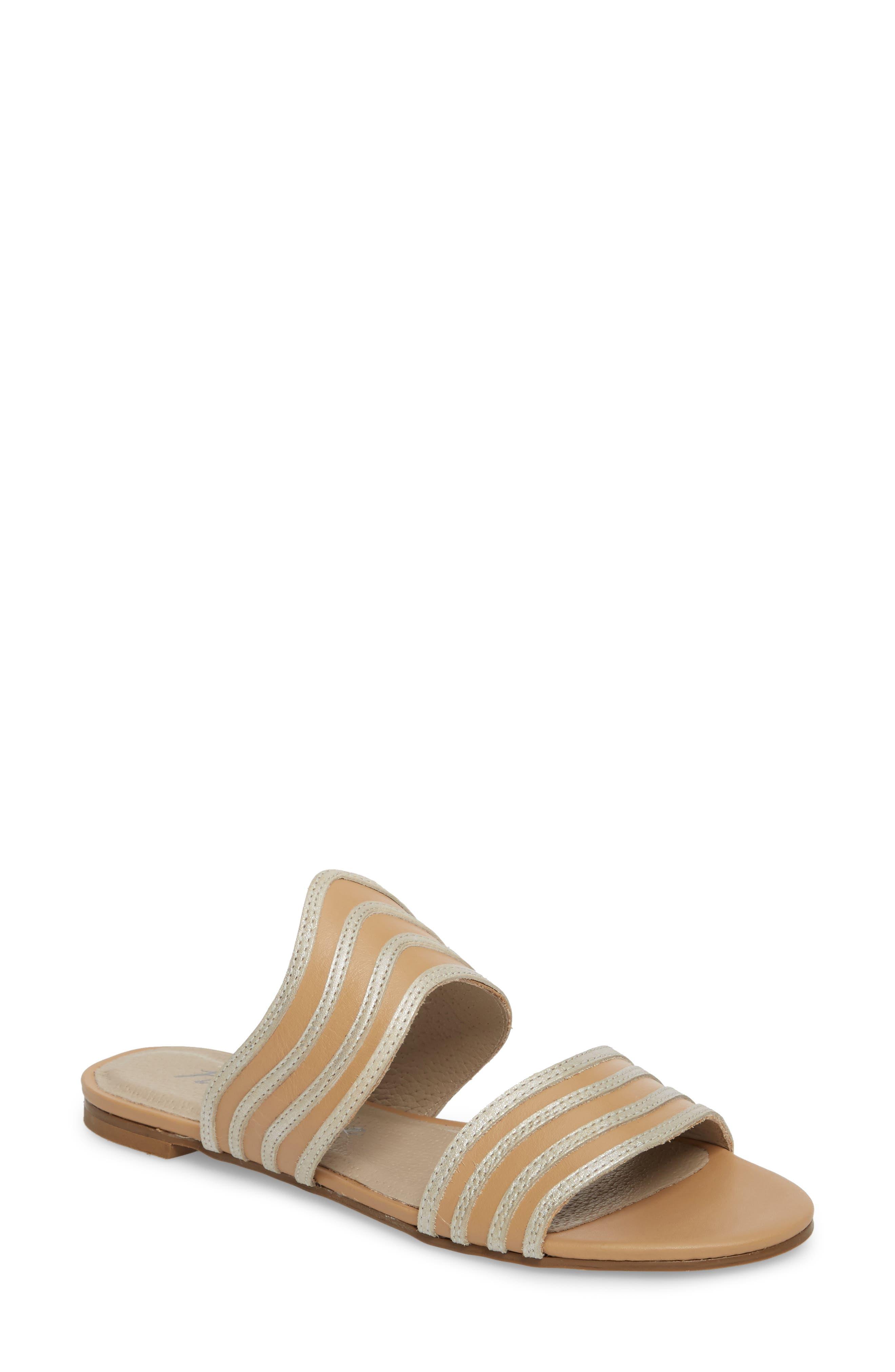 Russo Slide Sandal,                         Main,                         color, Natural/ Silver Leather