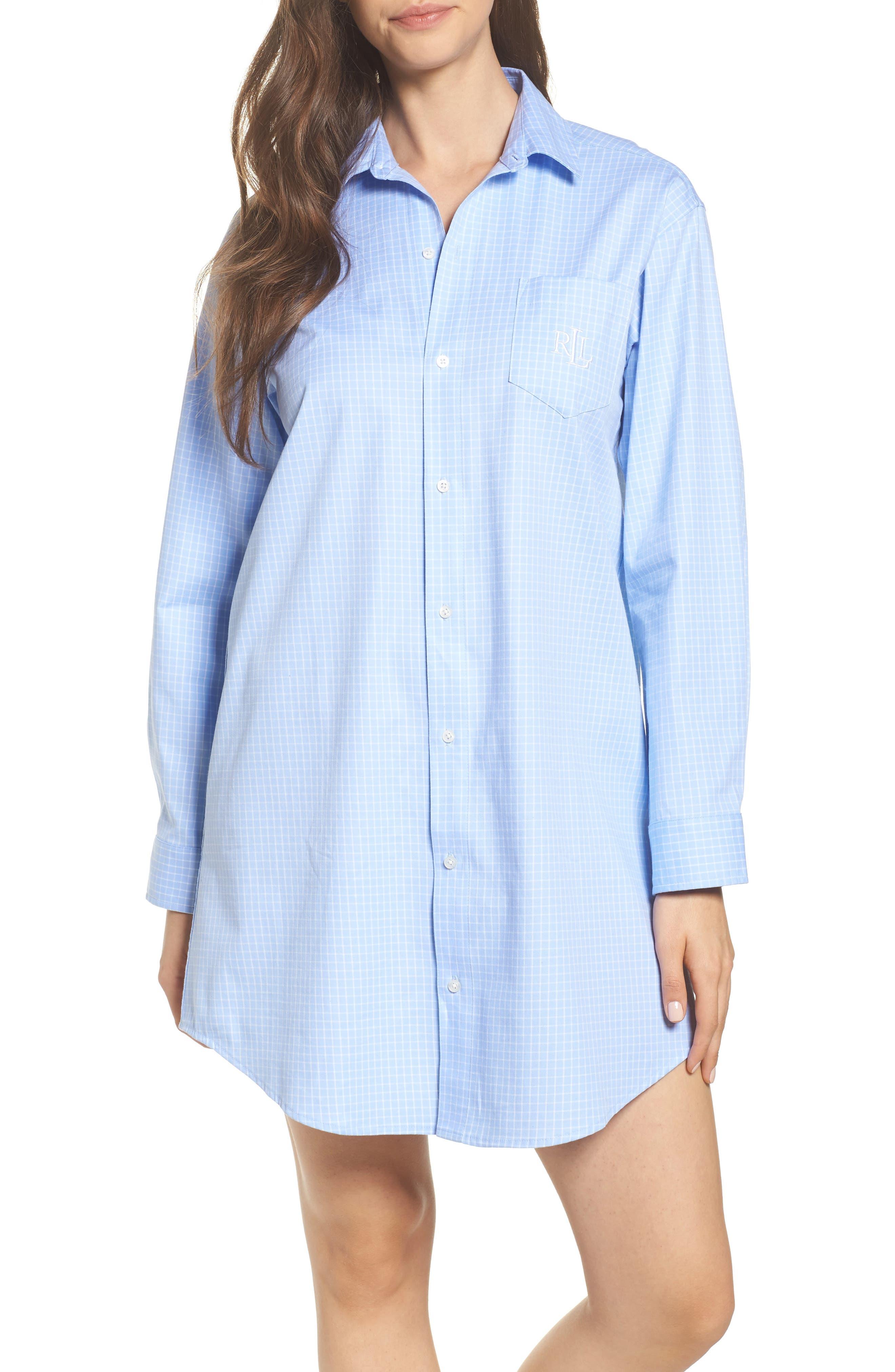 Stretch Cotton Sleep Shirt,                         Main,                         color, Blue Chick