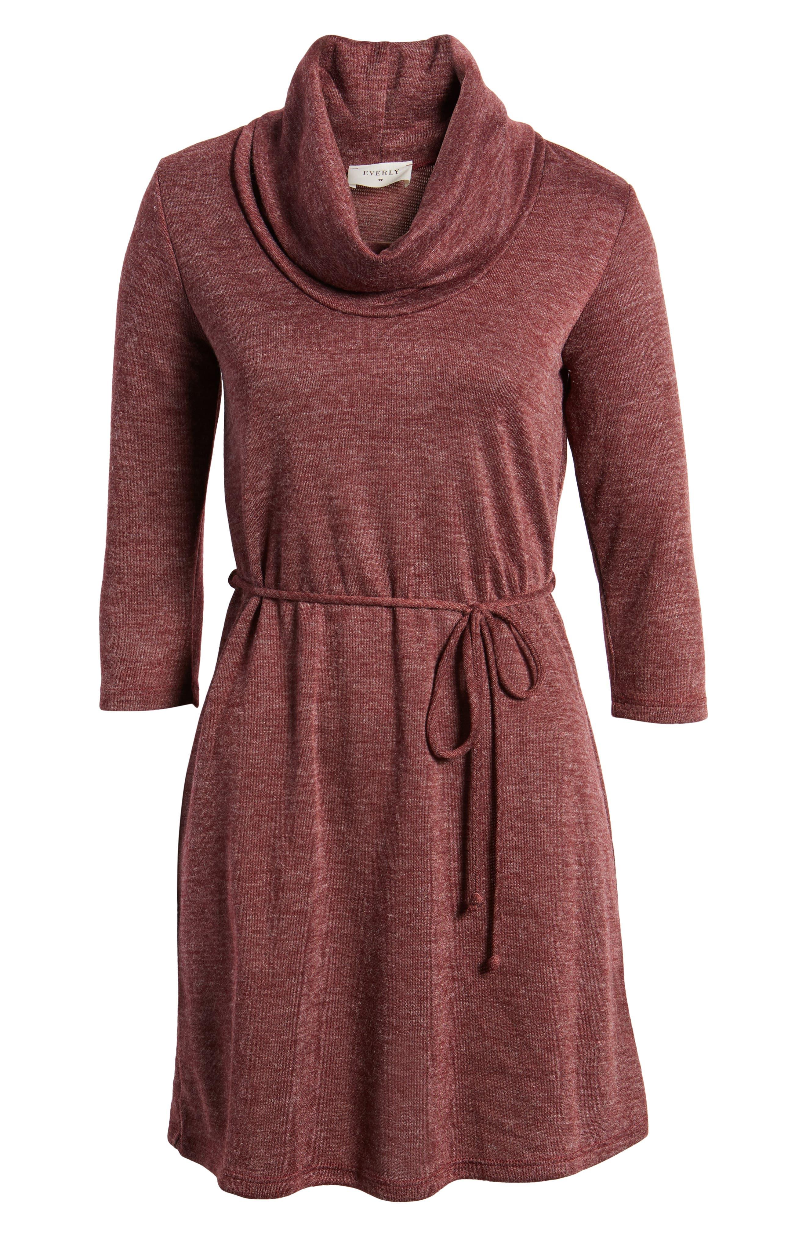 Cowl Neck Dress,                             Alternate thumbnail 6, color,                             Wine