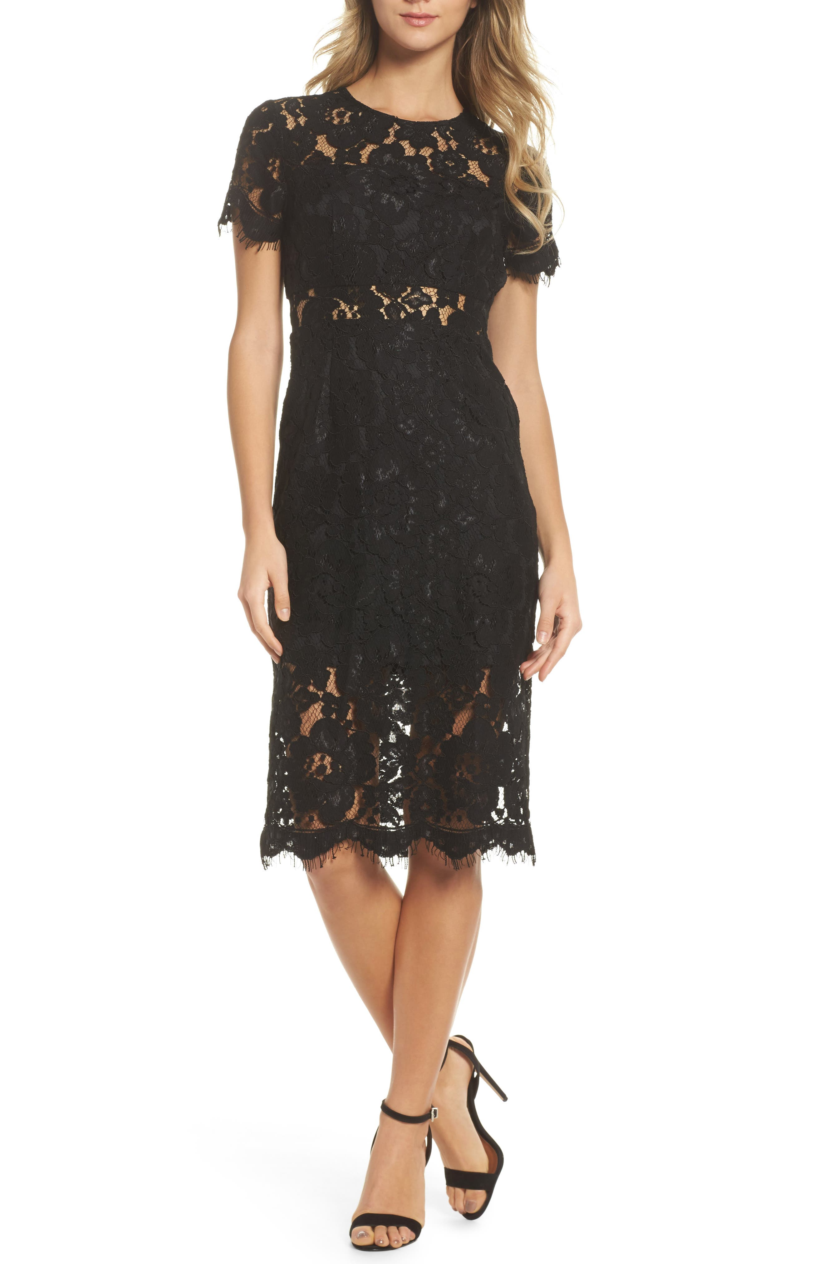 Lace Midi Dress,                             Main thumbnail 1, color,                             Black
