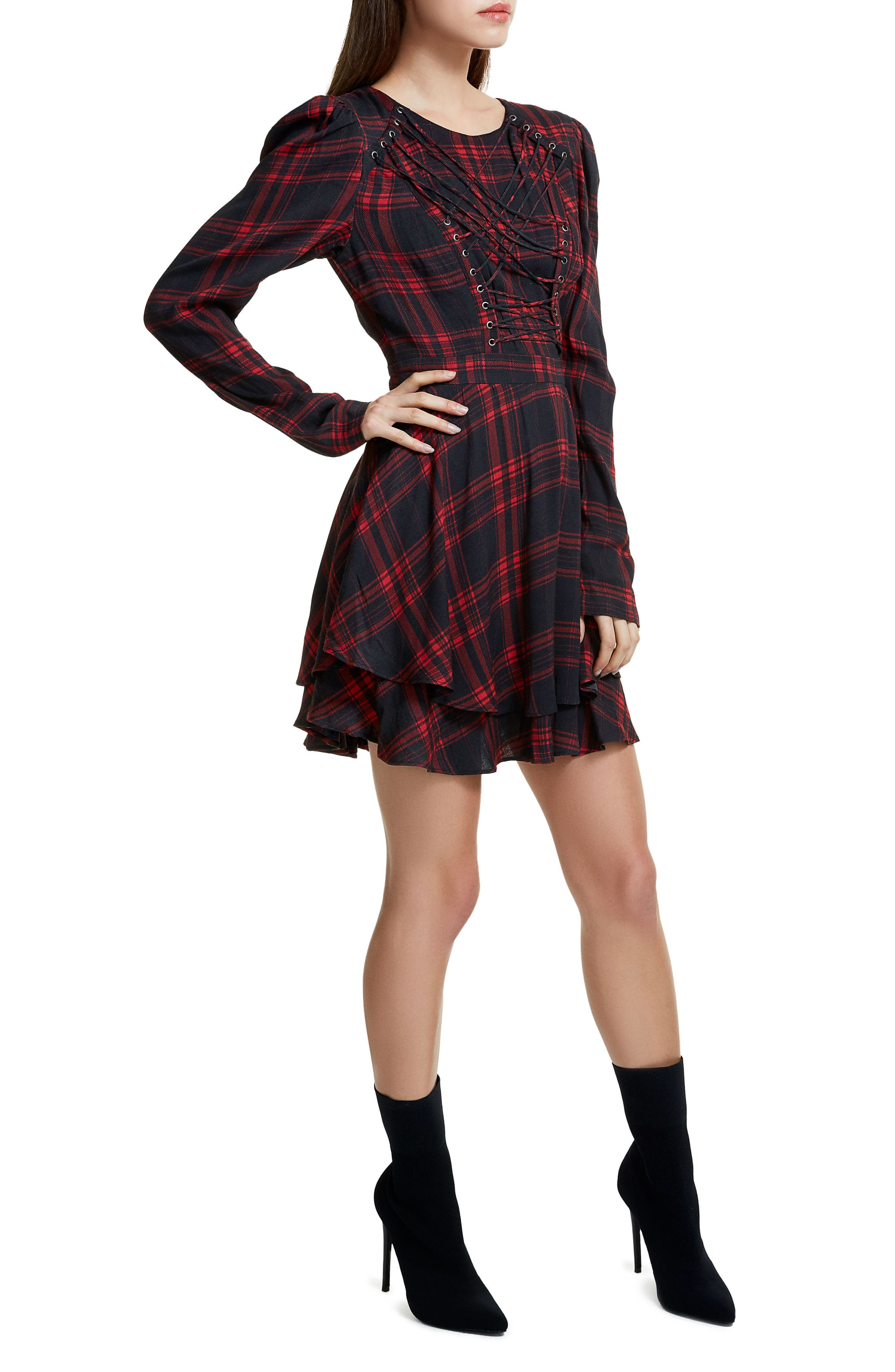 Avery Strappy Babydoll Dress,                             Alternate thumbnail 3, color,                             Plaid