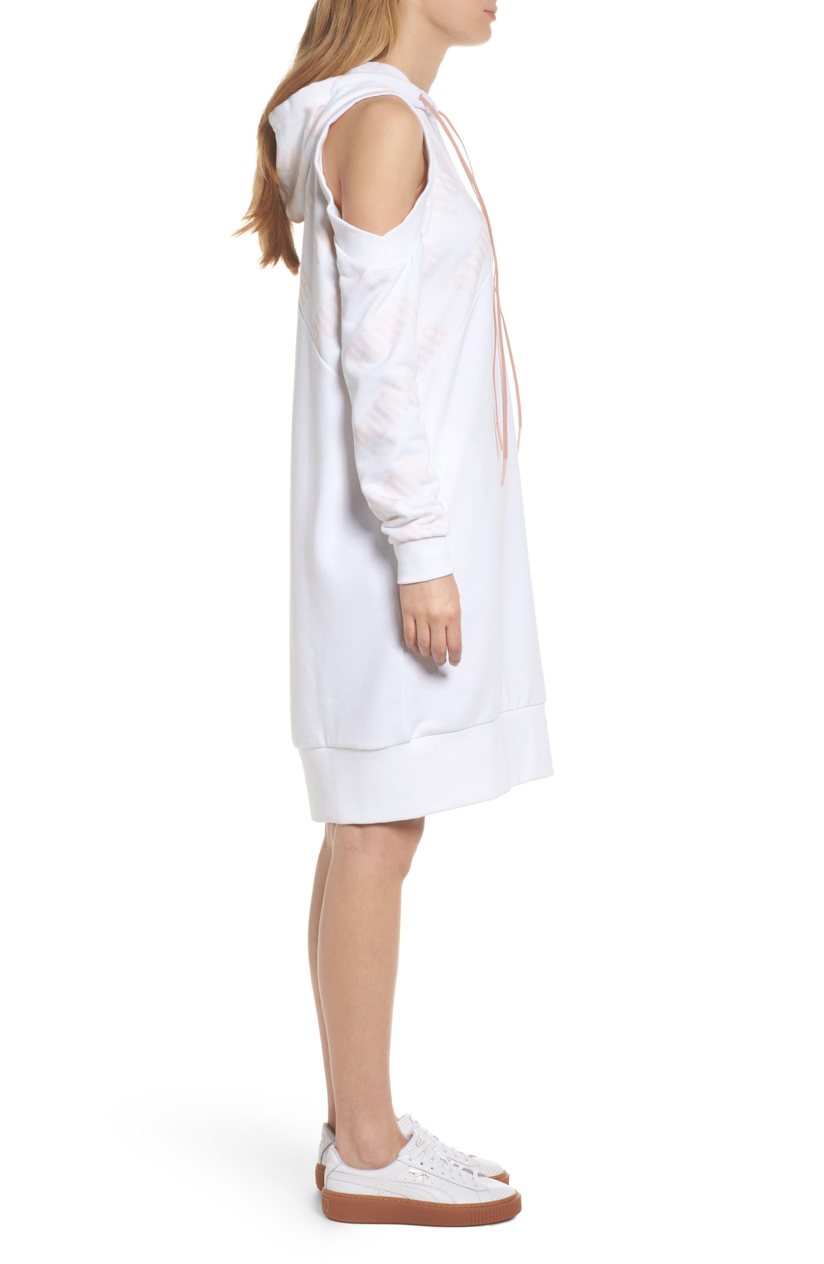 En Pointe Drawstring Dress,                             Alternate thumbnail 3, color,                             Puma White