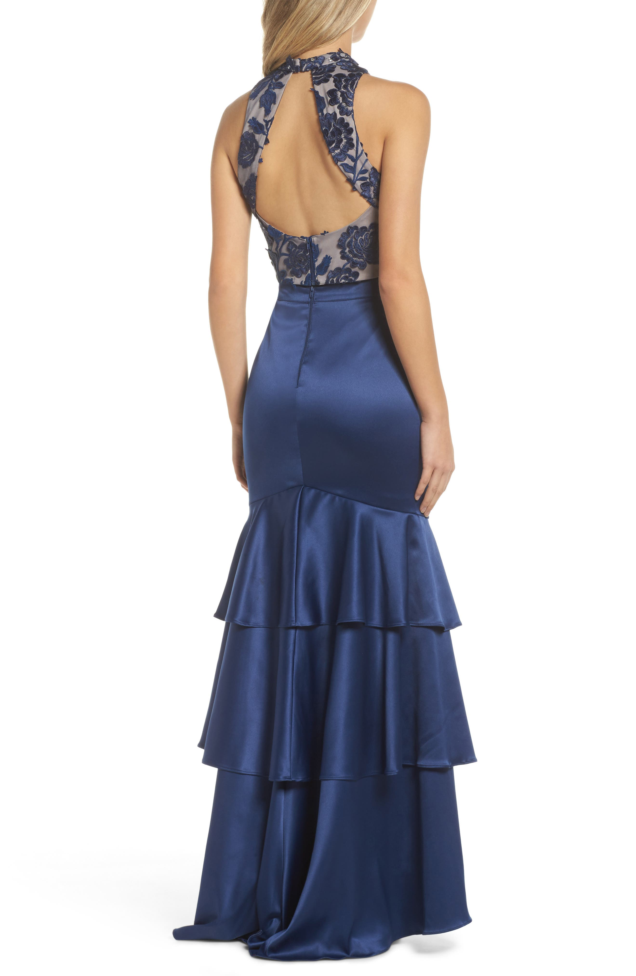 Beaded Lace & Satin Two-Piece Gown,                             Alternate thumbnail 2, color,                             Navy/ Mauve