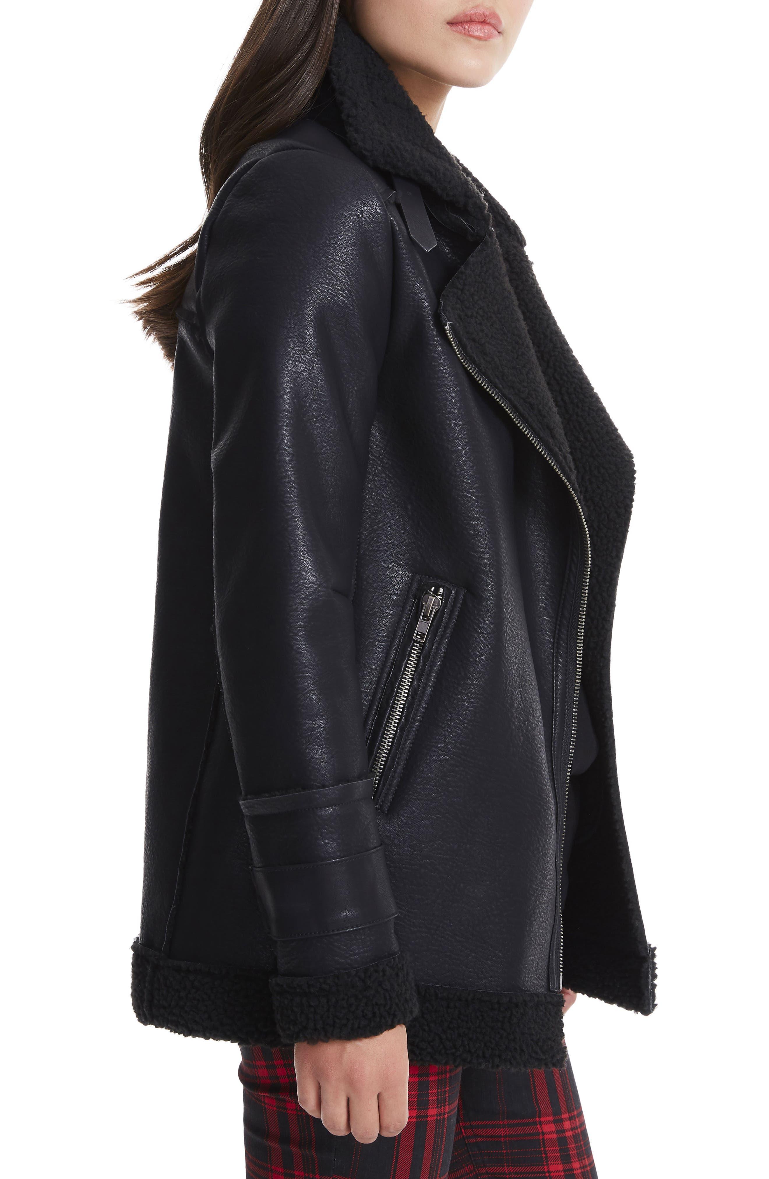 Opelia Oversize Faux Shearling Jacket,                             Alternate thumbnail 3, color,                             Noir