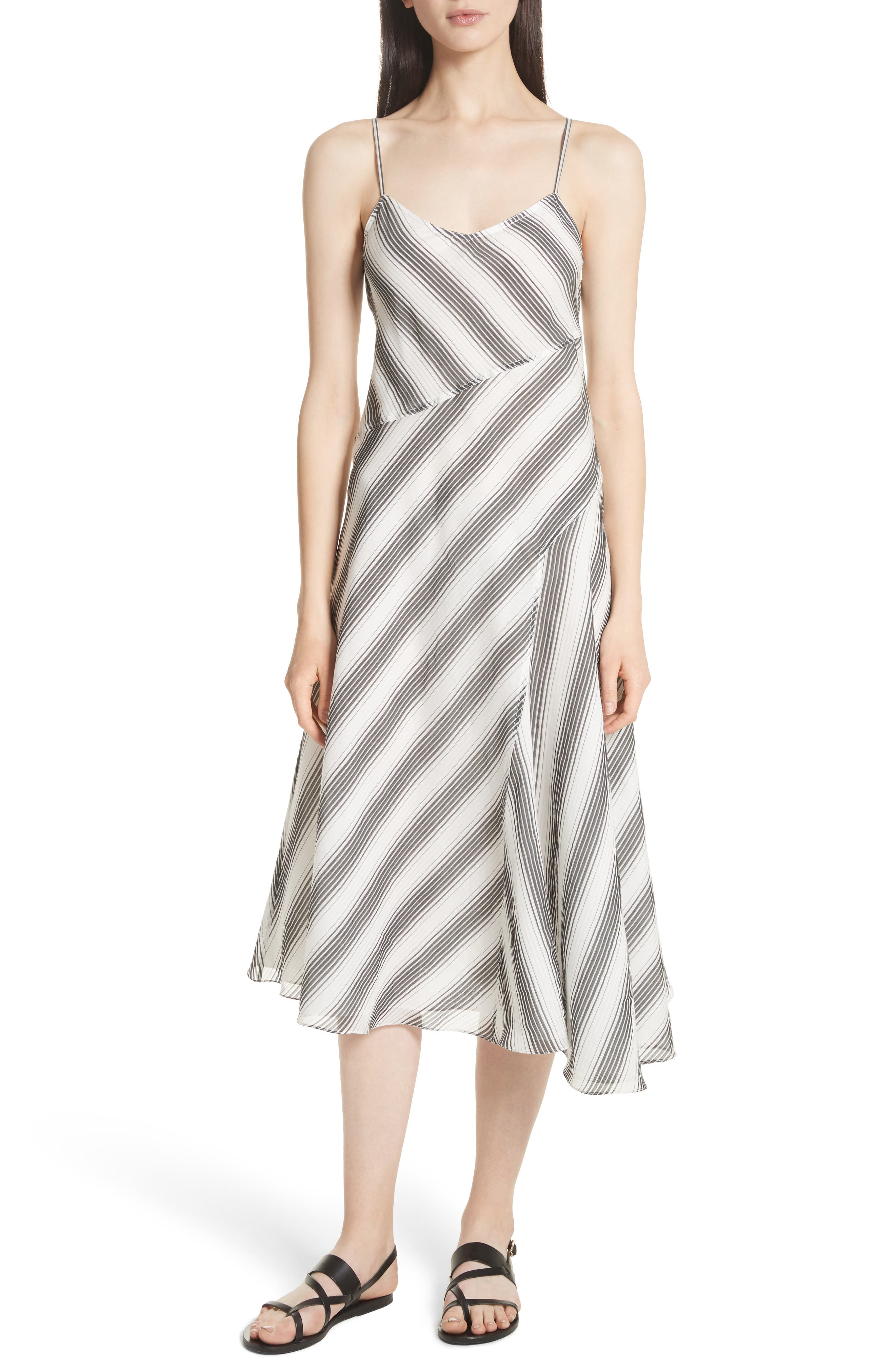 Spaghetti Strap Day Dress,                         Main,                         color, Ivory/ Black