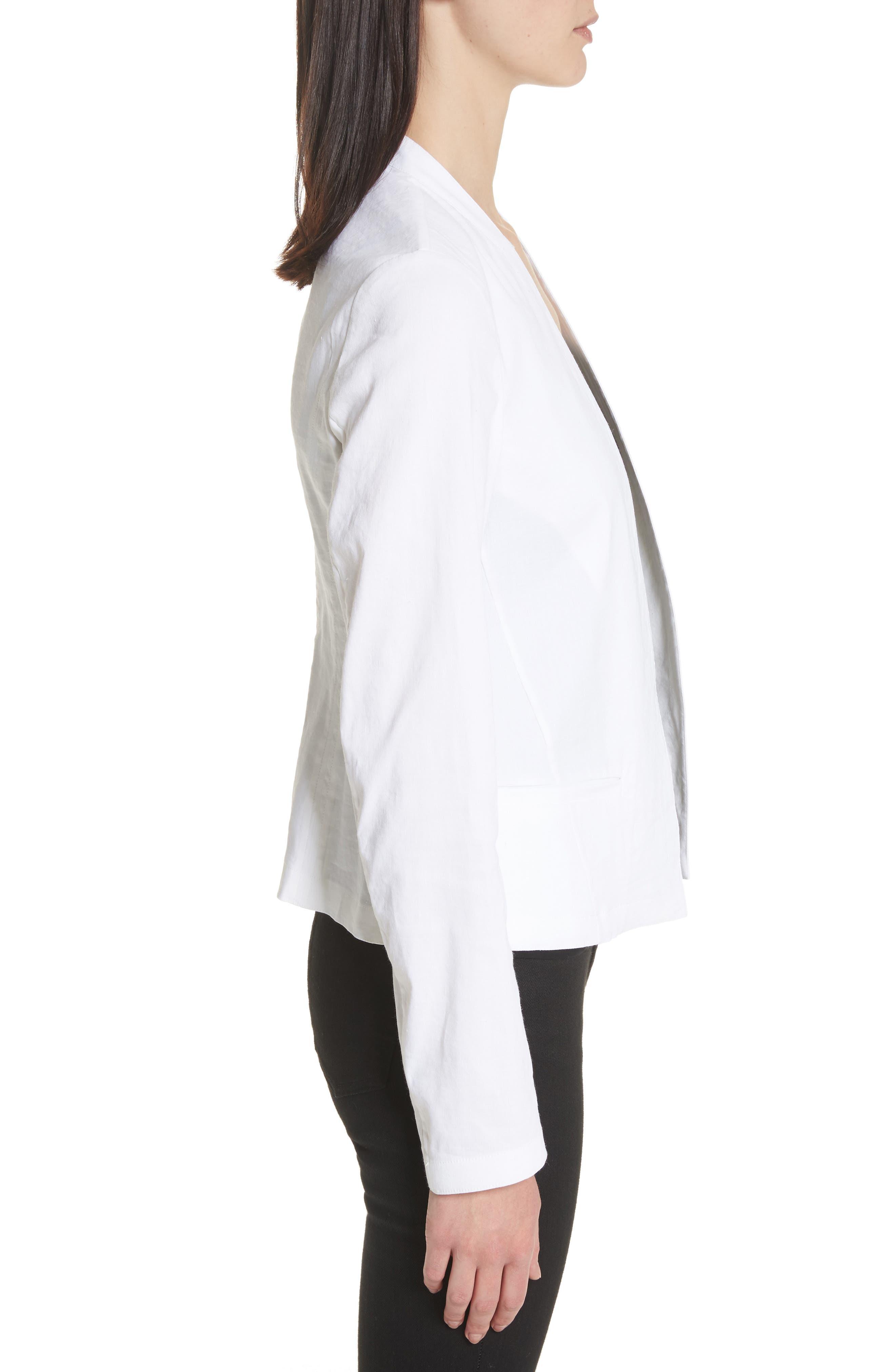 Clean Linen Blend Blazer,                             Alternate thumbnail 3, color,                             White