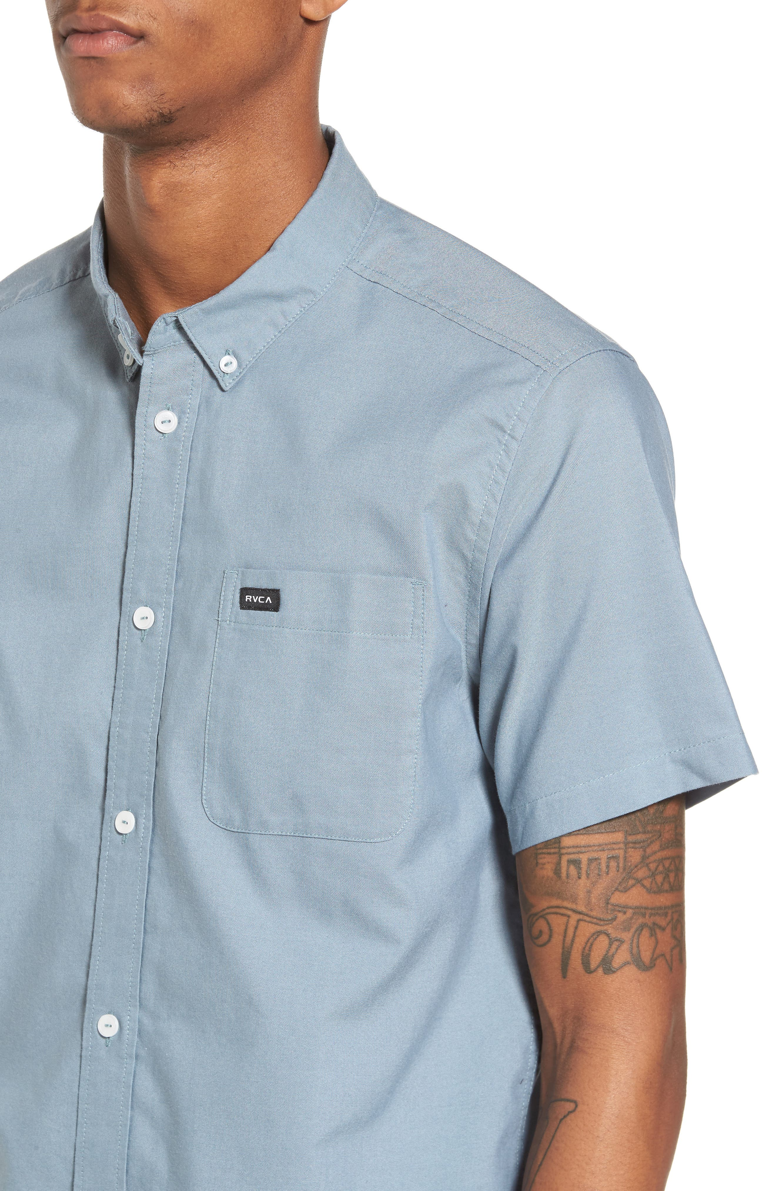 Alternate Image 5  - RVCA 'That'll Do' Slim Fit Short Sleeve Oxford Shirt