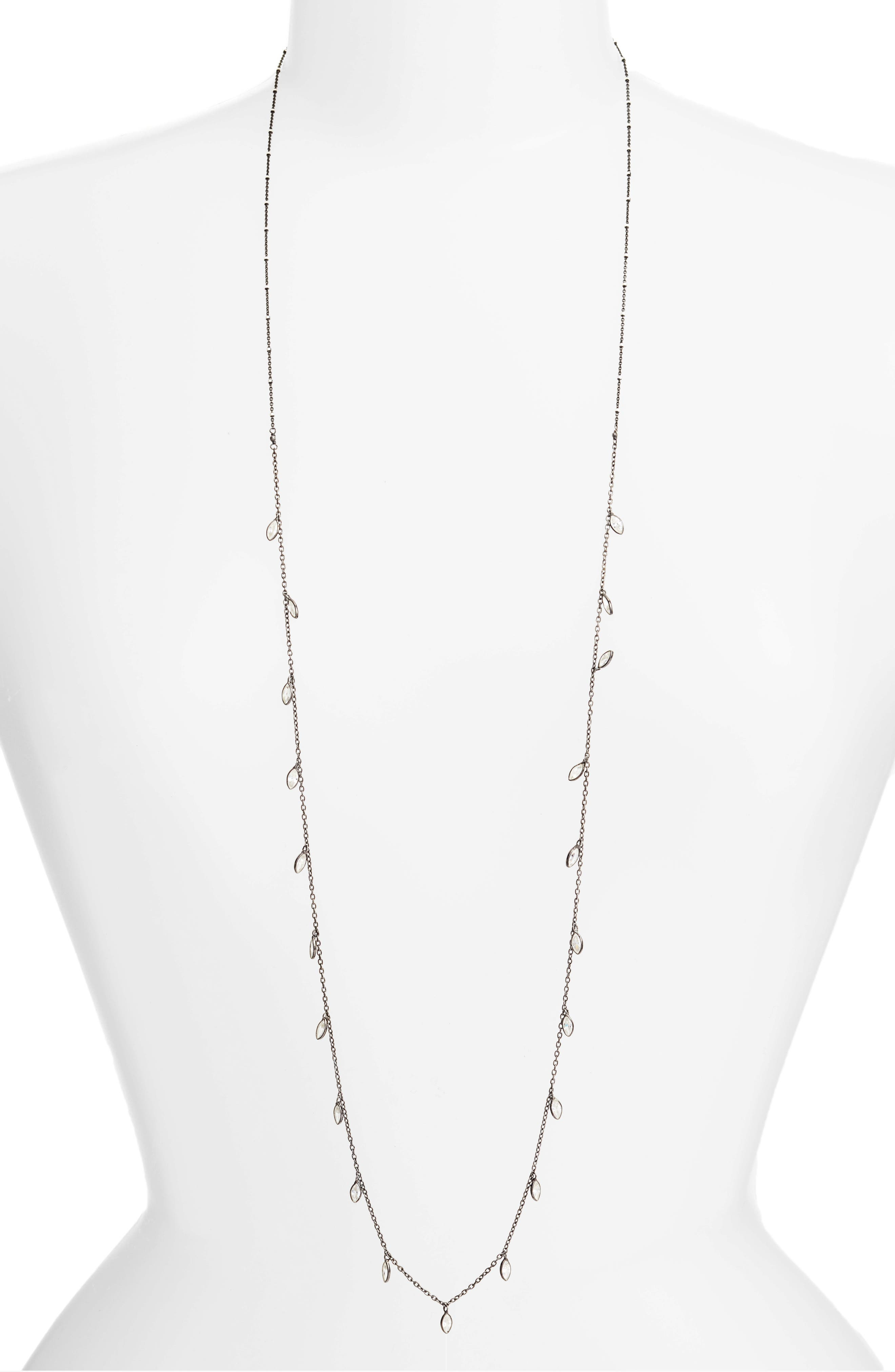 Crystal Long Necklace,                             Main thumbnail 1, color,                             Gunmetal
