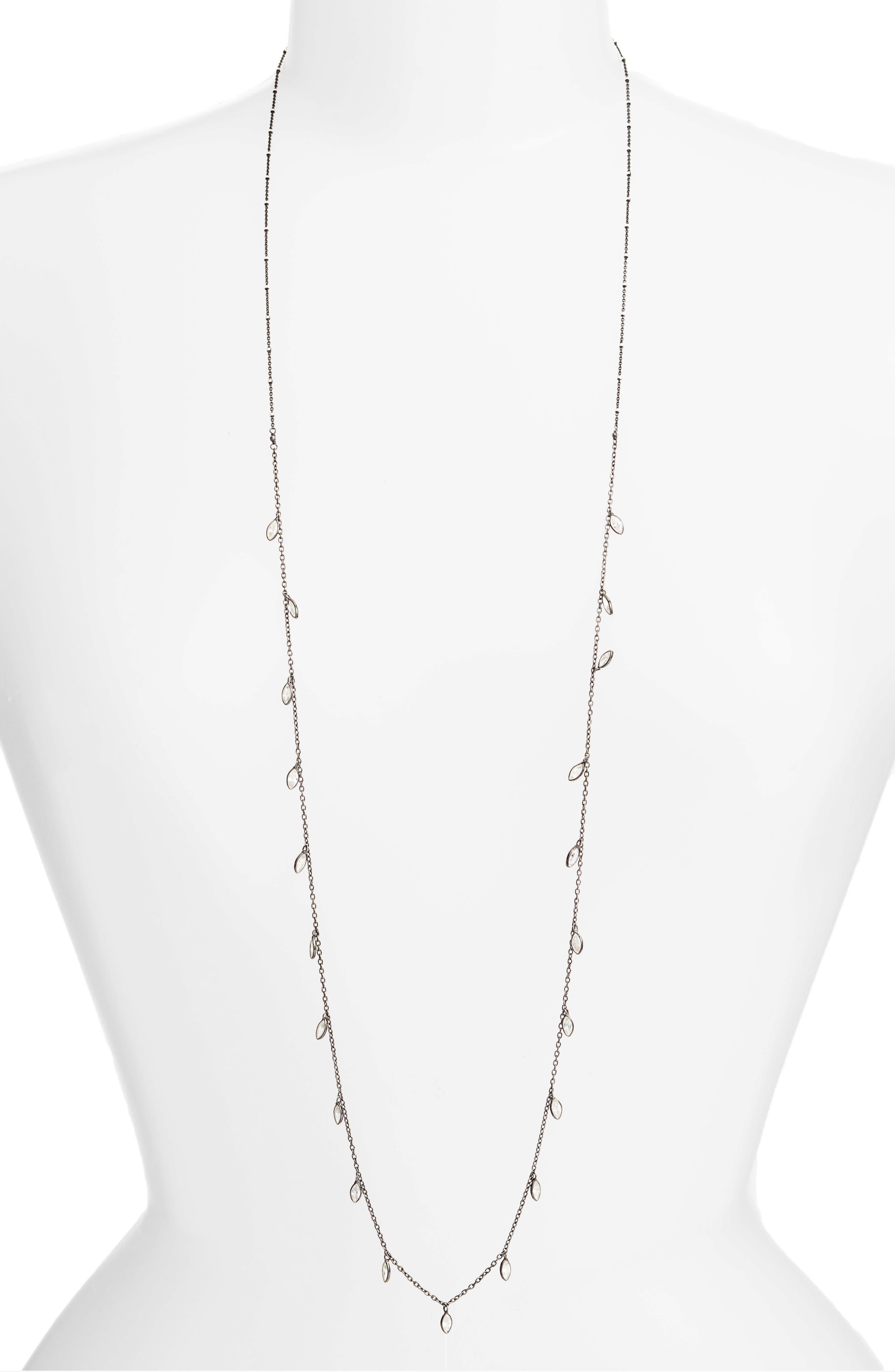Crystal Long Necklace,                         Main,                         color, Gunmetal