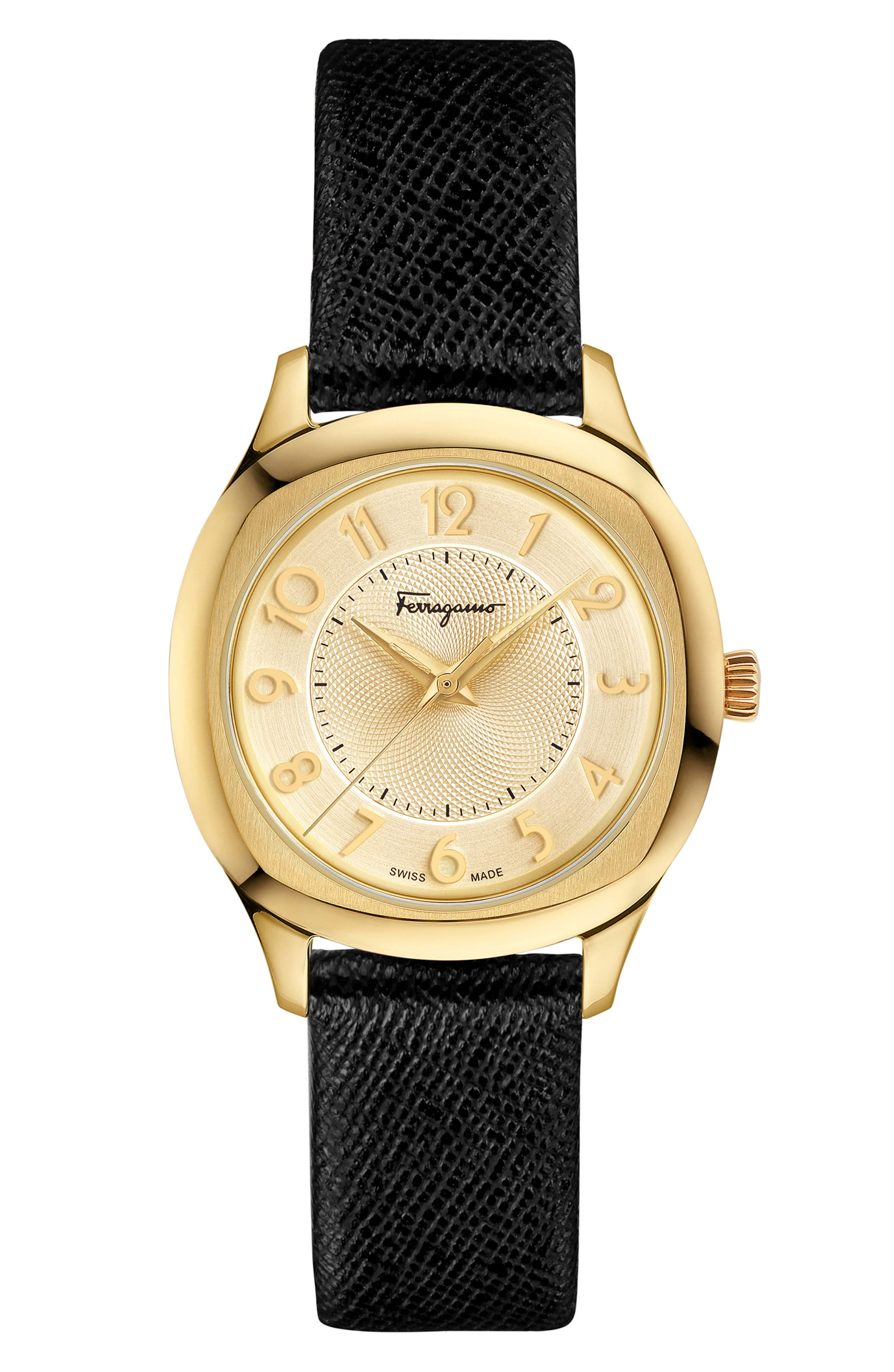 Time Square Leather Strap Watch, 36mm,                             Alternate thumbnail 6, color,                             Multi/ Gold