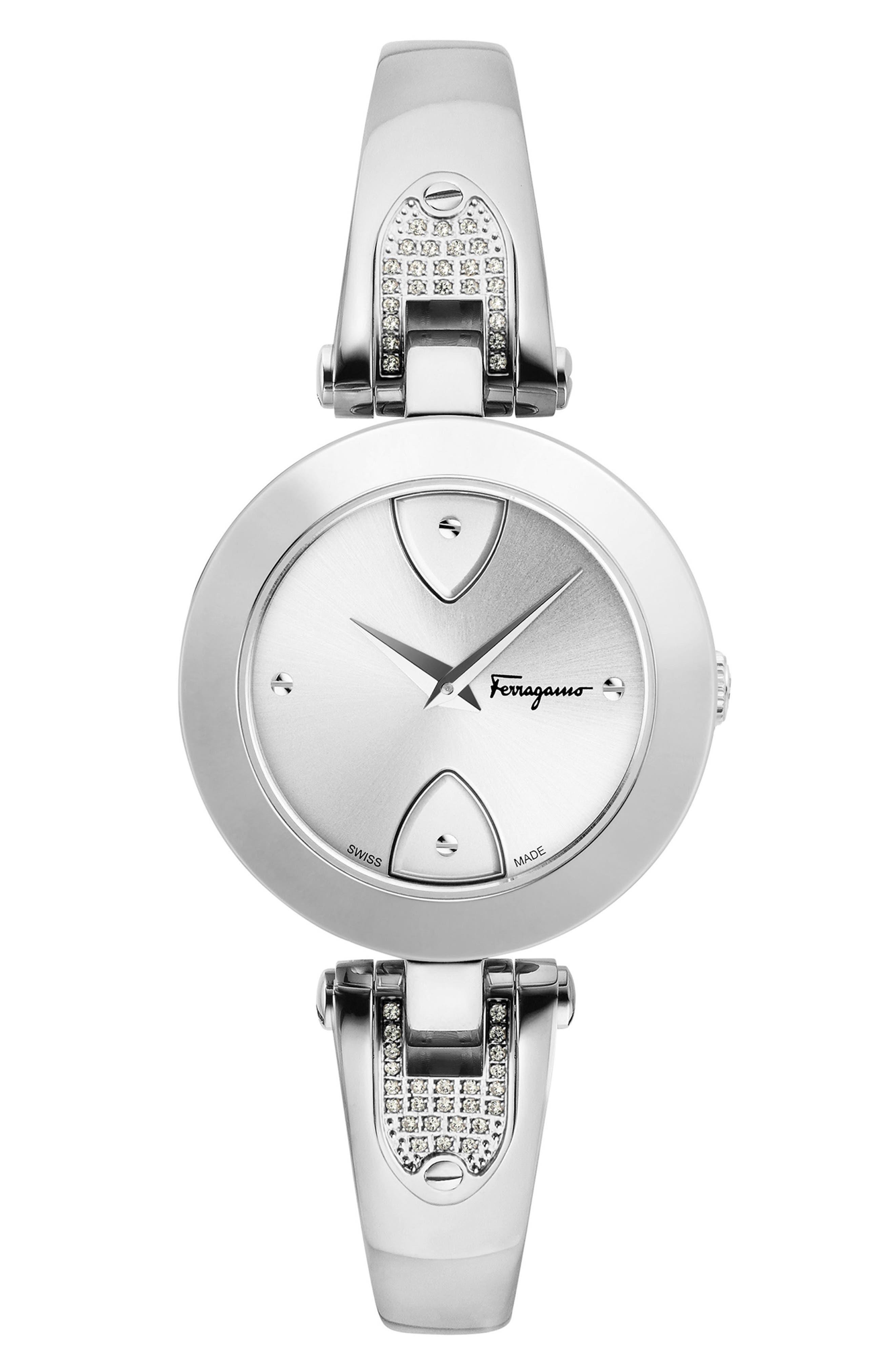 Gilion Diamond Bangle Watch, 32mm,                             Main thumbnail 1, color,                             Silver