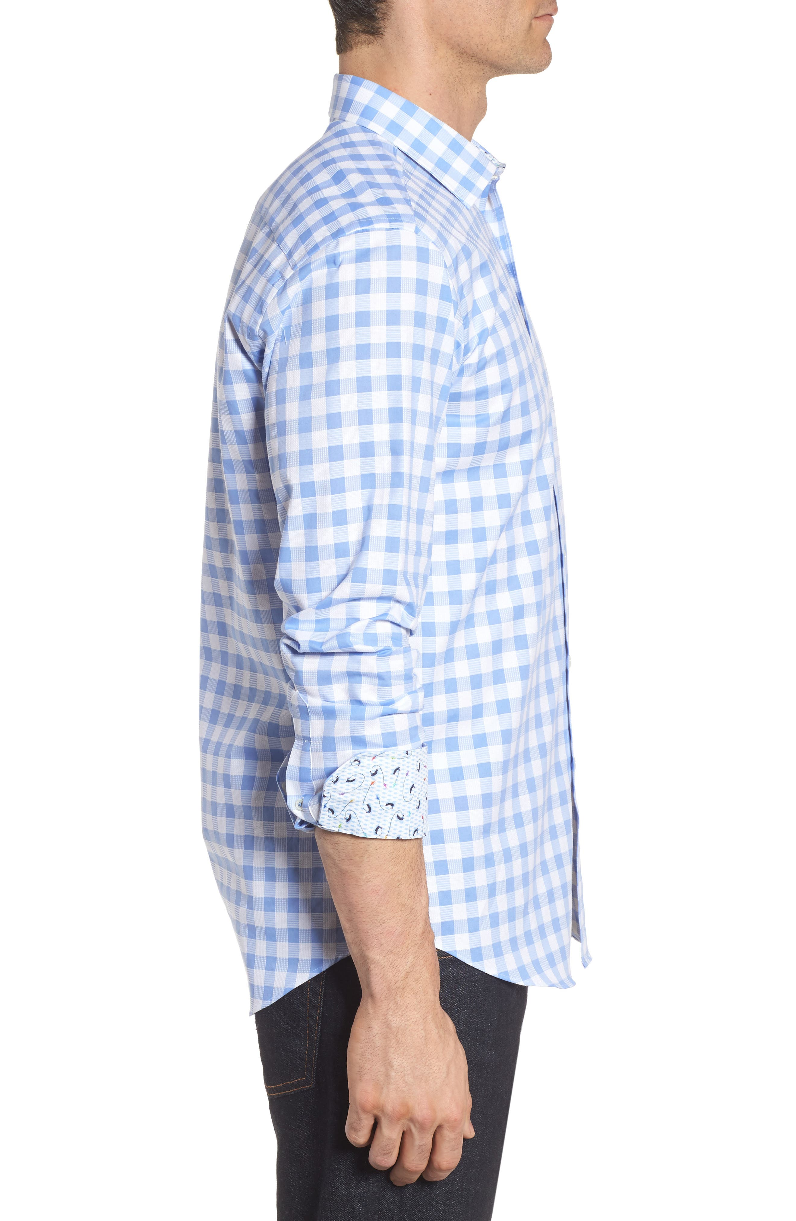 Shaped Fit Check Sport Shirt,                             Alternate thumbnail 3, color,                             Sky