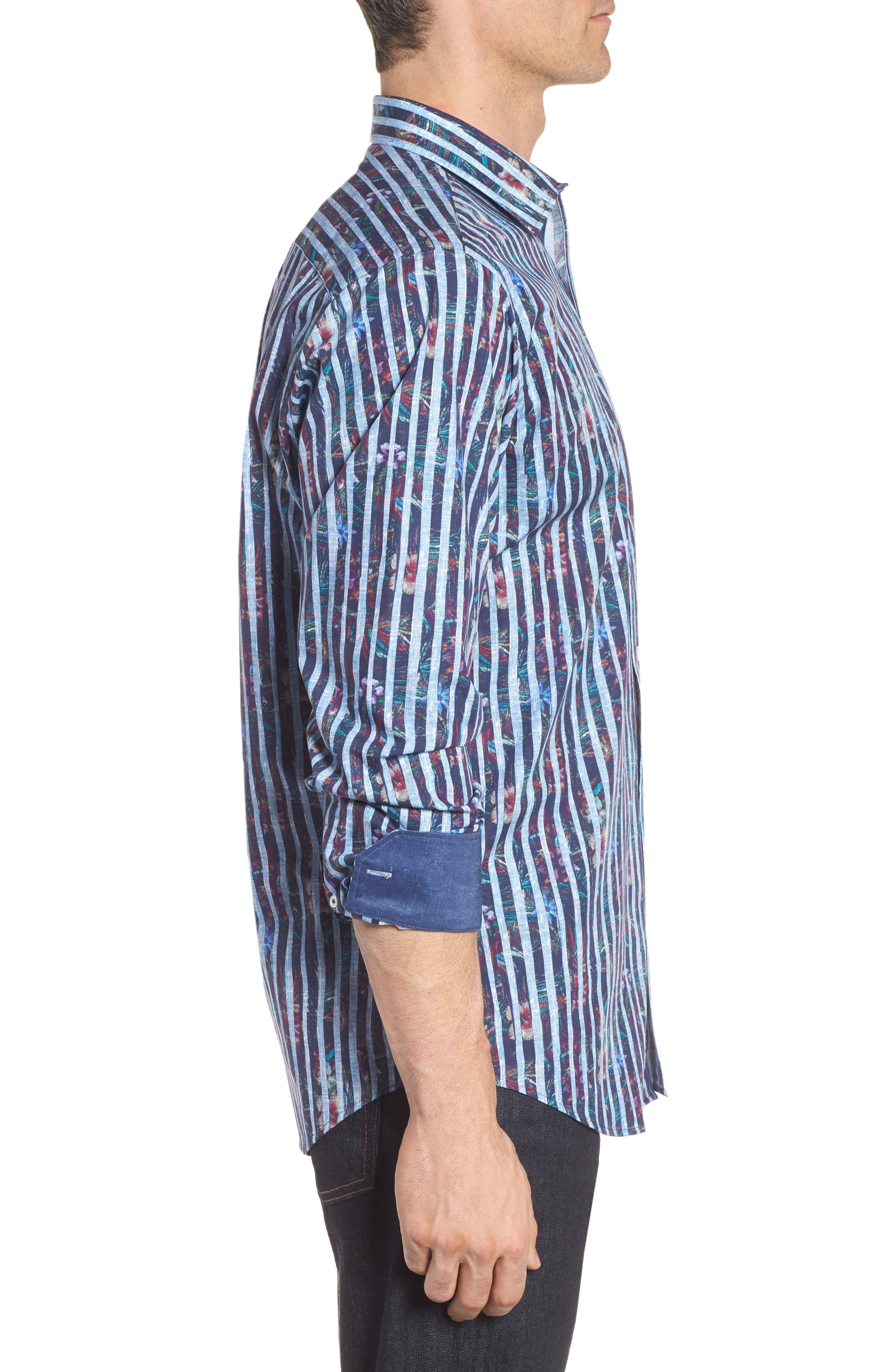 Alternate Image 3  - Bugatchi Classic Fit Stripe Sport Shirt