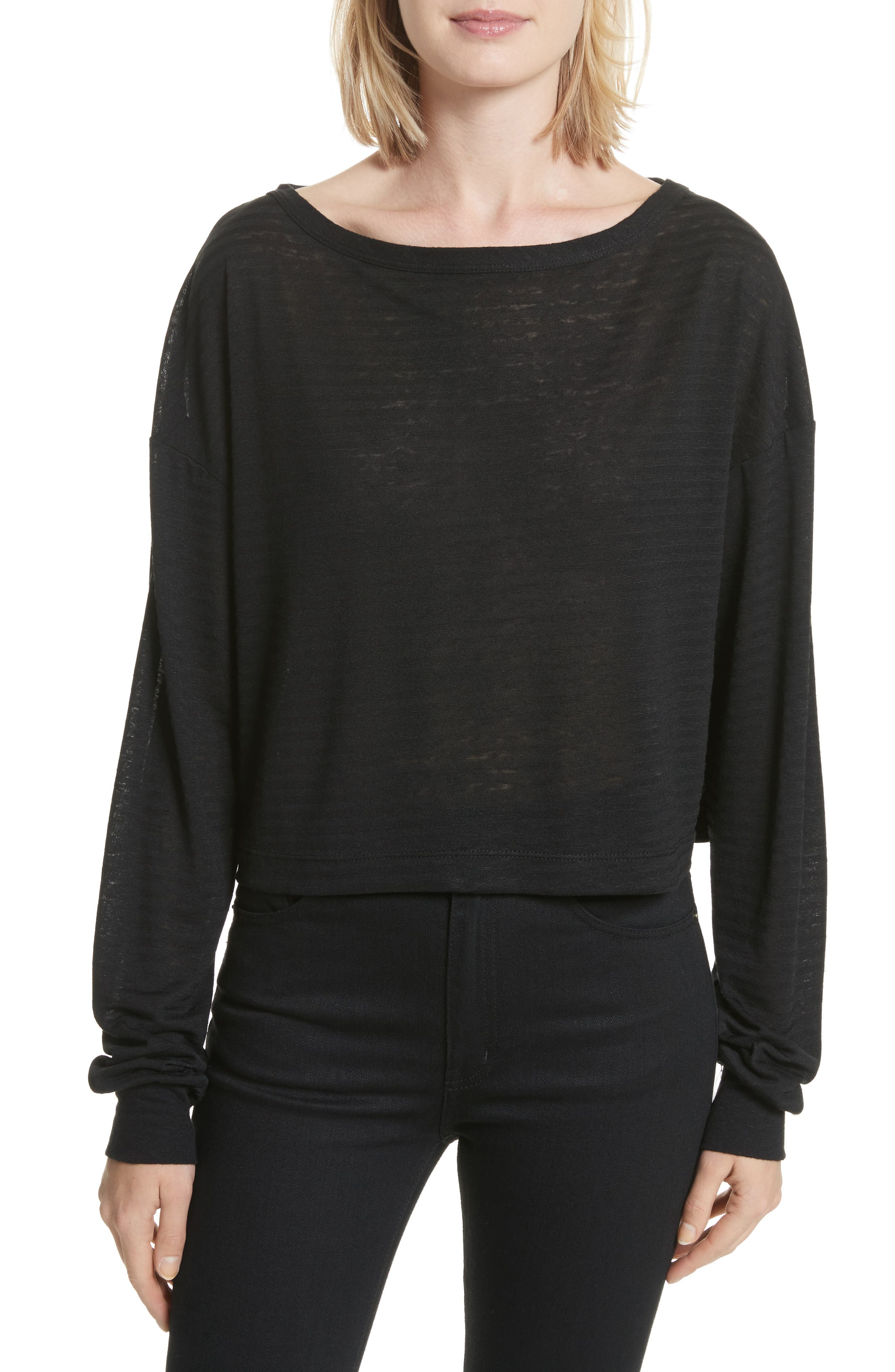 Holton Boat Neck Crop Tee,                             Main thumbnail 1, color,                             Black