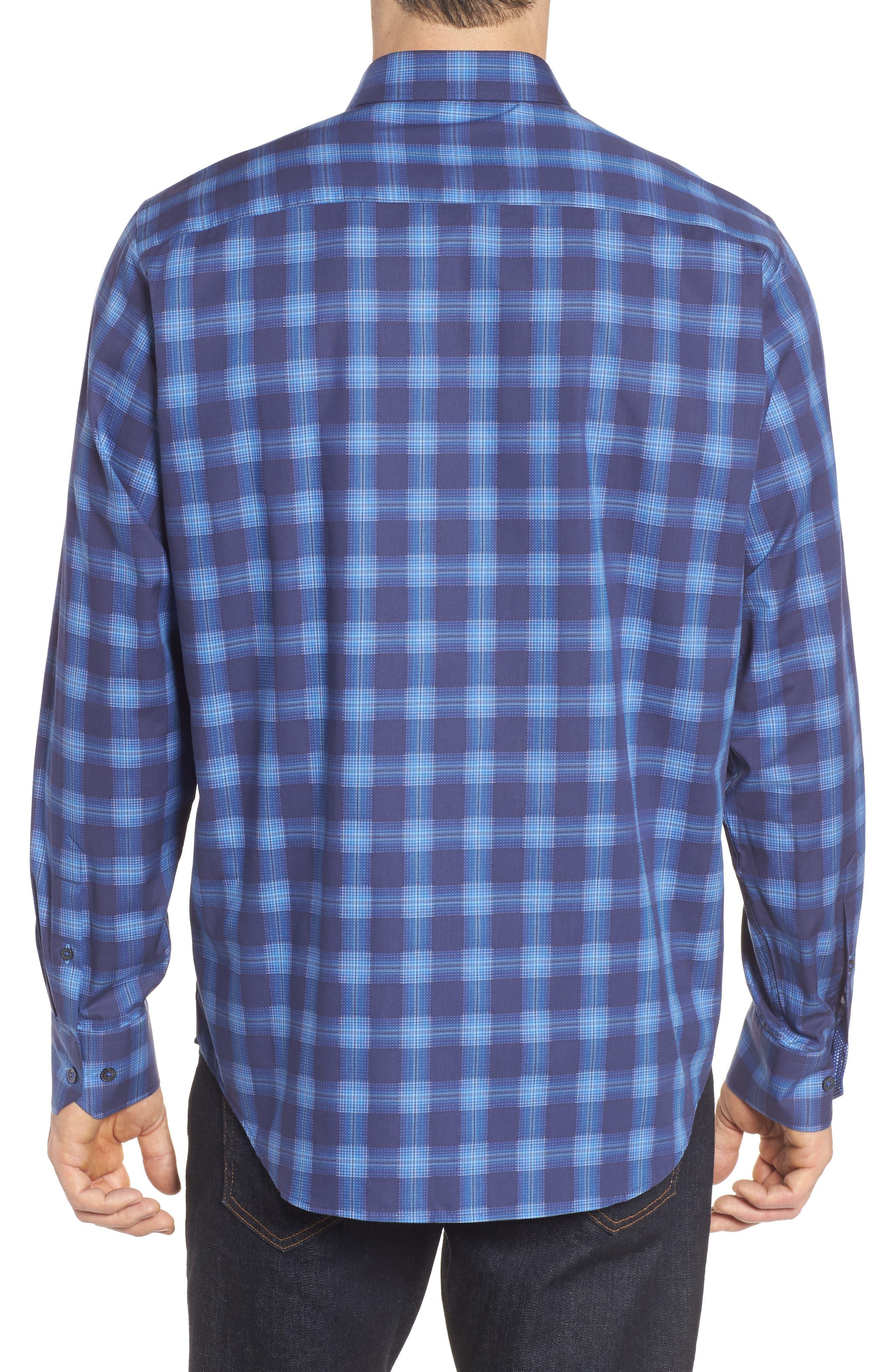 Classic Fit Plaid Sport Shirt,                             Alternate thumbnail 2, color,                             Night Blue
