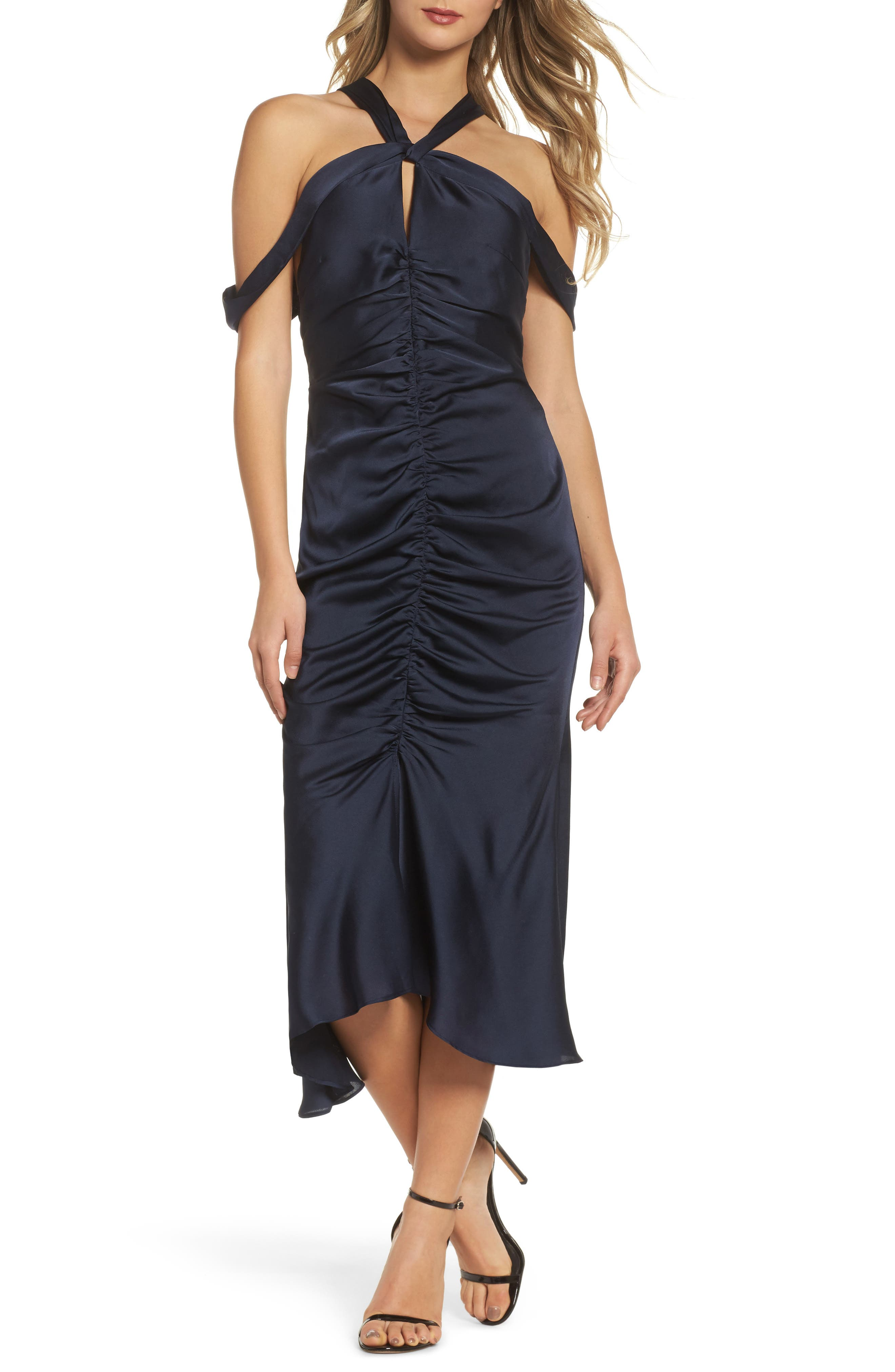 Dark Paradise Strappy Back Ruched Midi Dress,                         Main,                         color, Navy