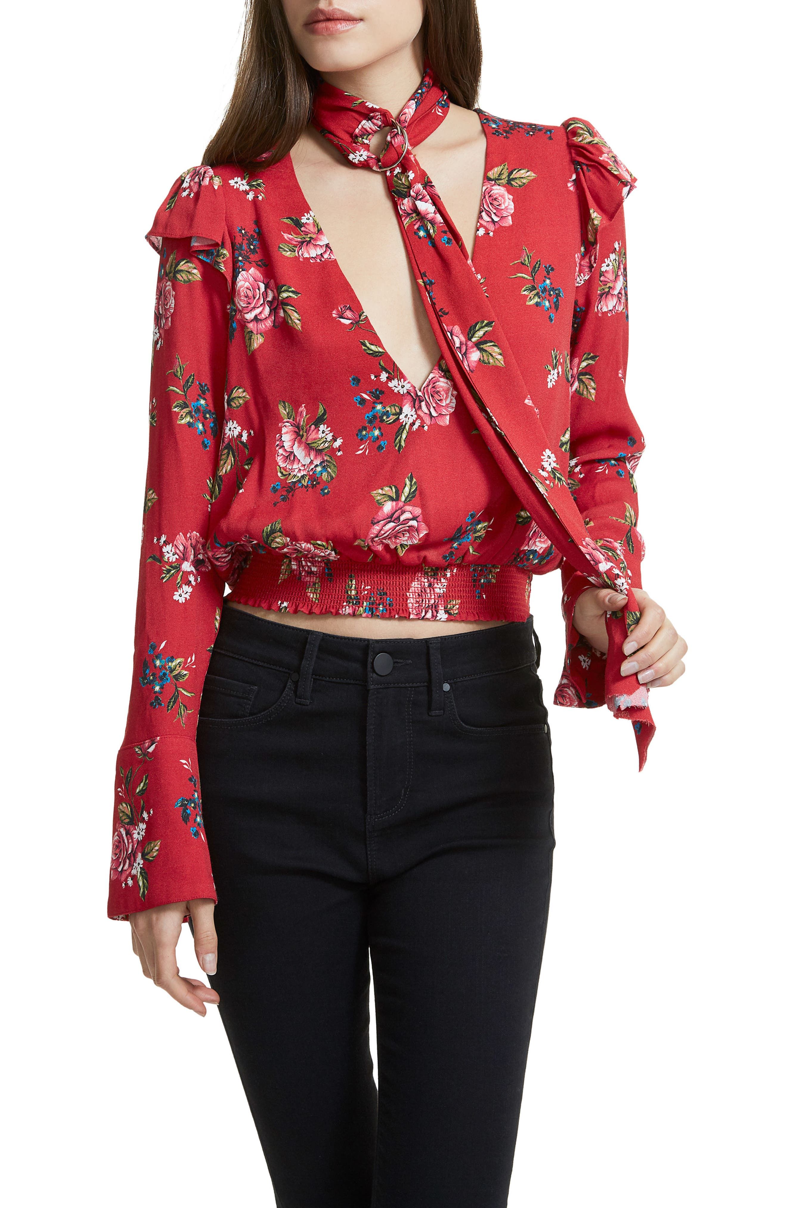 Gigi Blouse With Necktie,                             Alternate thumbnail 3, color,                             Red Rose