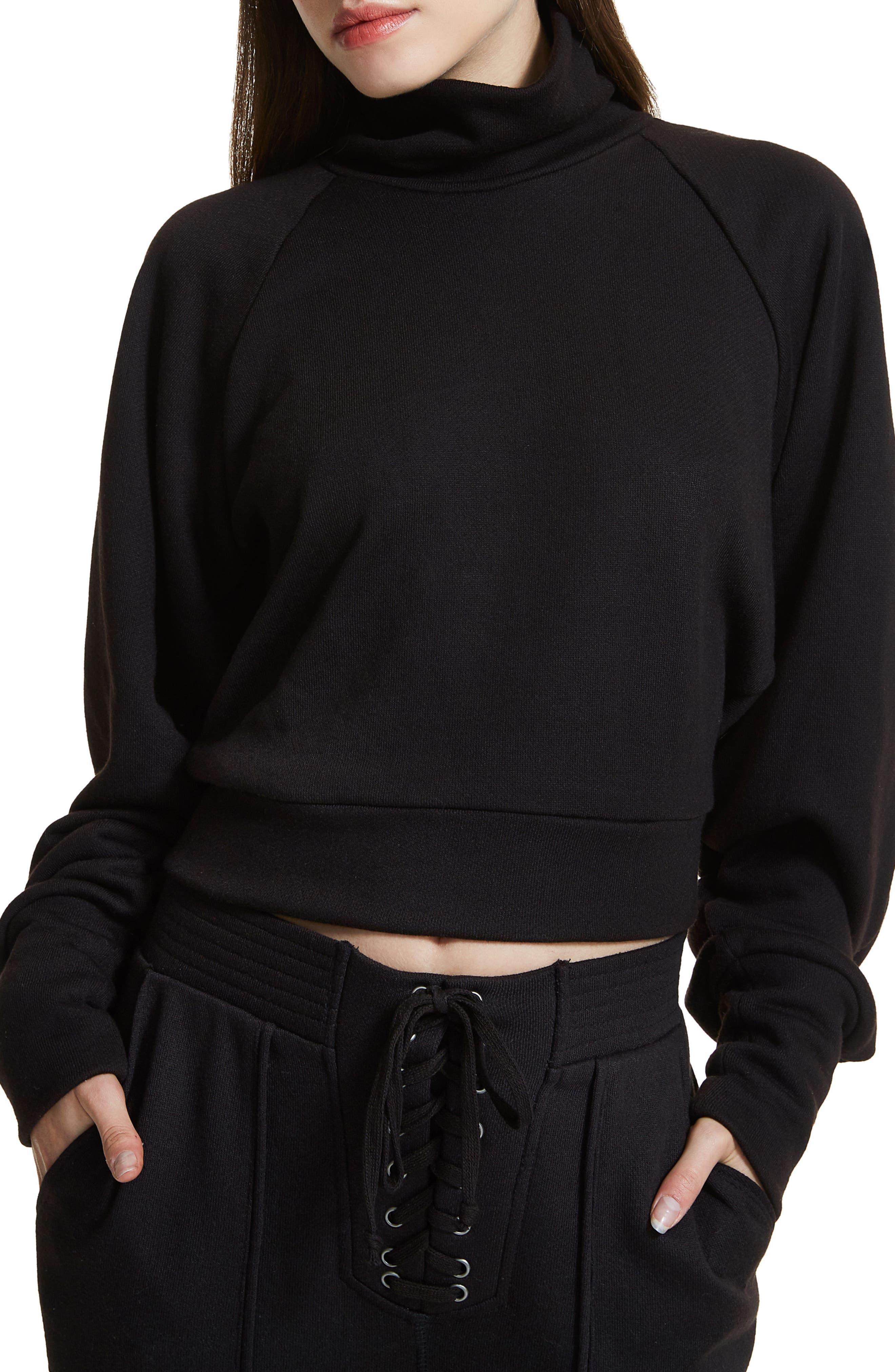 Jaxon Crop Turtleneck Sweatshirt,                         Main,                         color, Noir