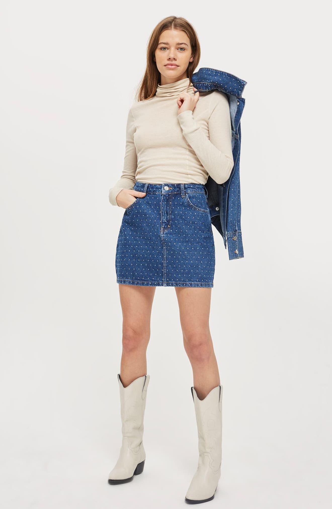Crystal Studded Denim Miniskirt,                             Alternate thumbnail 2, color,                             Mid Denim